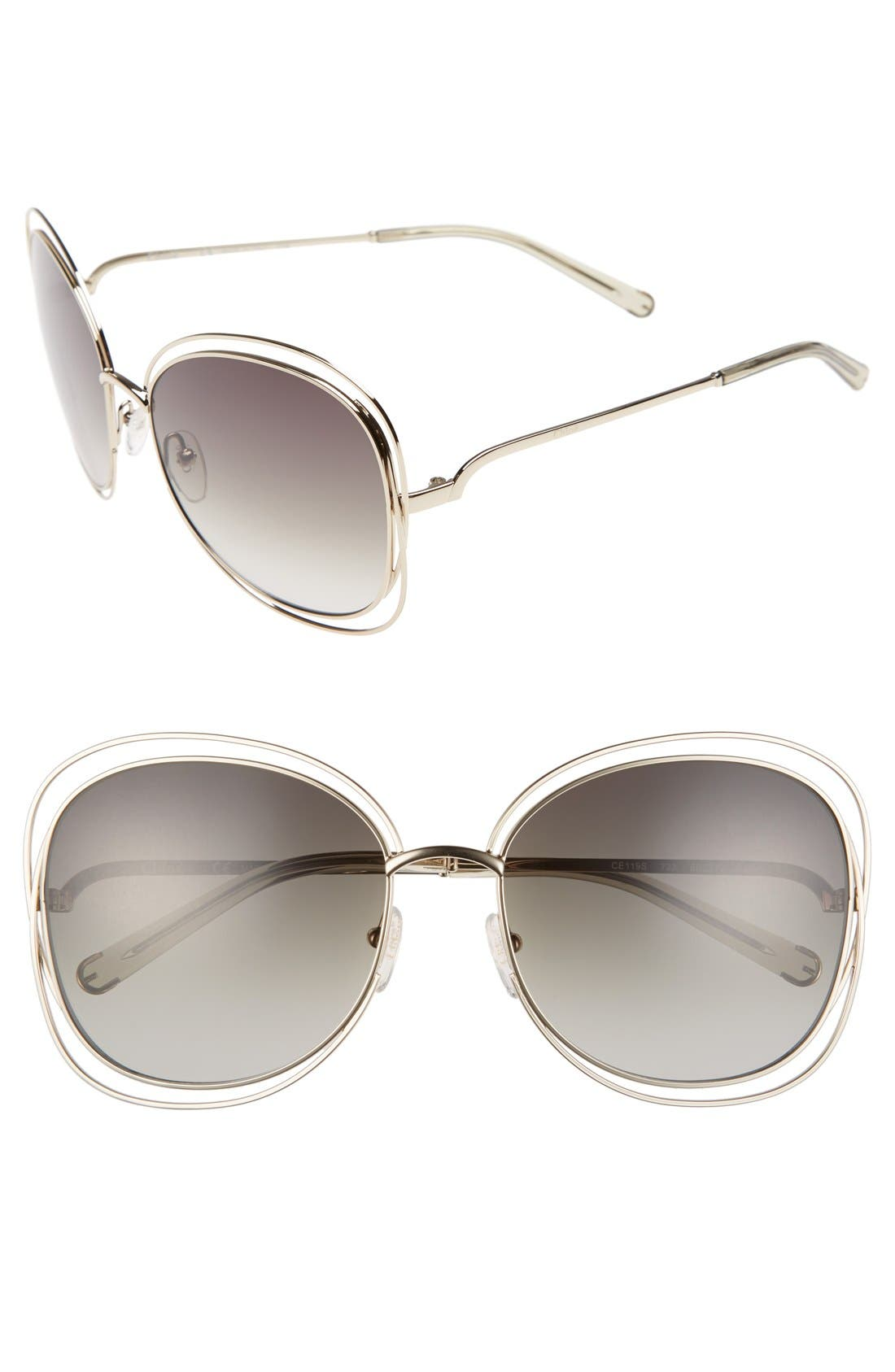 Main Image - Chloé Carlina 60mm Gradient Les Sunglasses