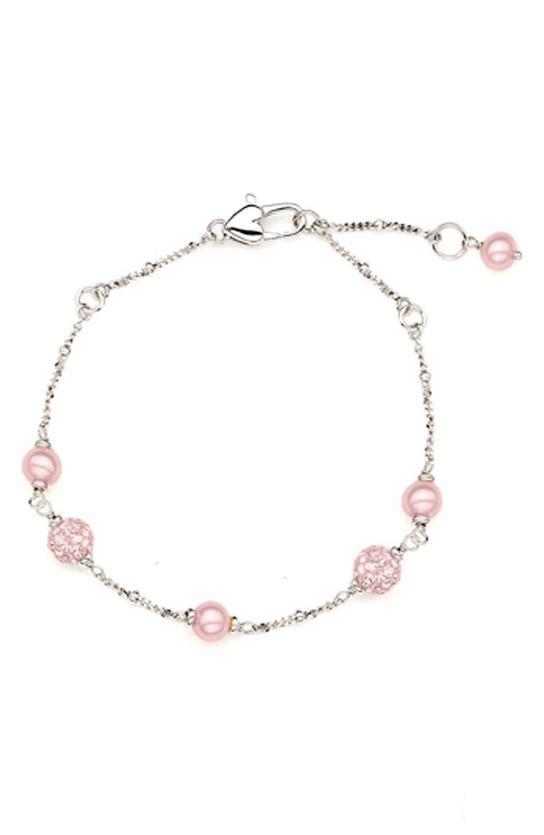 Alternate Image 1 Selected - HONORA Crystal & Freshwater Pearl Station Bracelet (Girls)