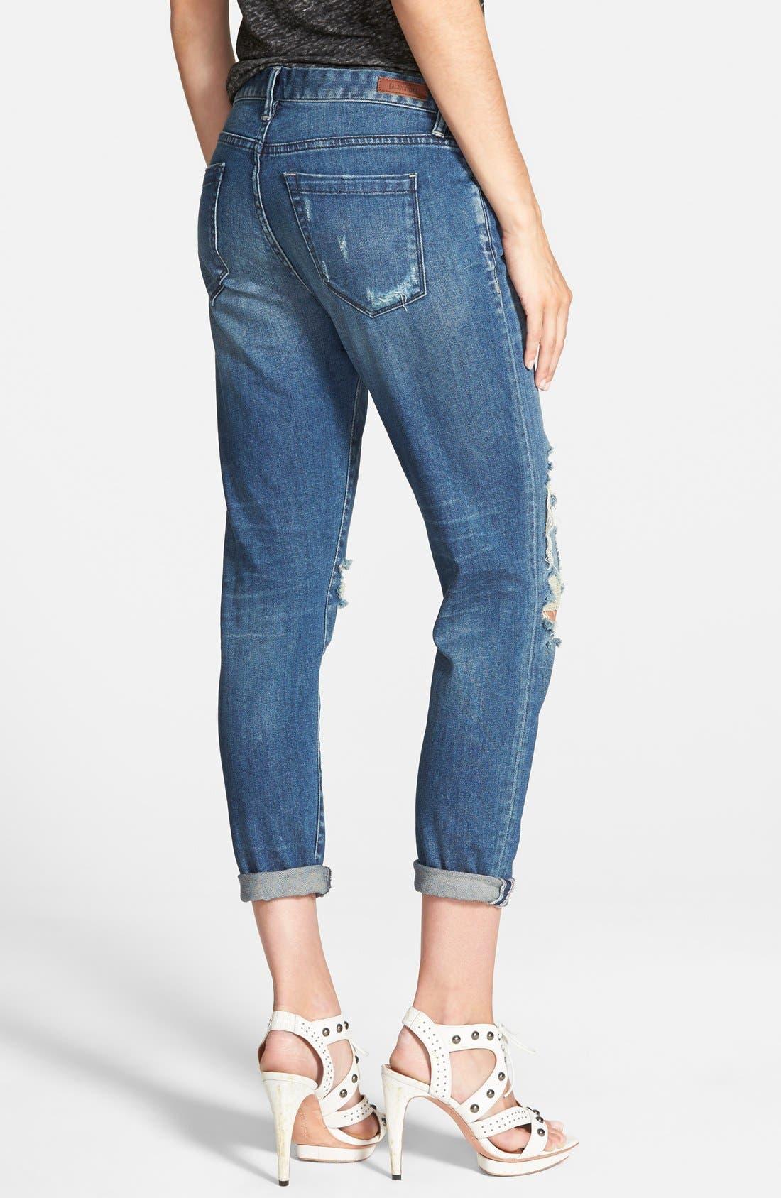 Alternate Image 2  - BLANKNYC Destroyed Boyfriend Jeans (Blue)