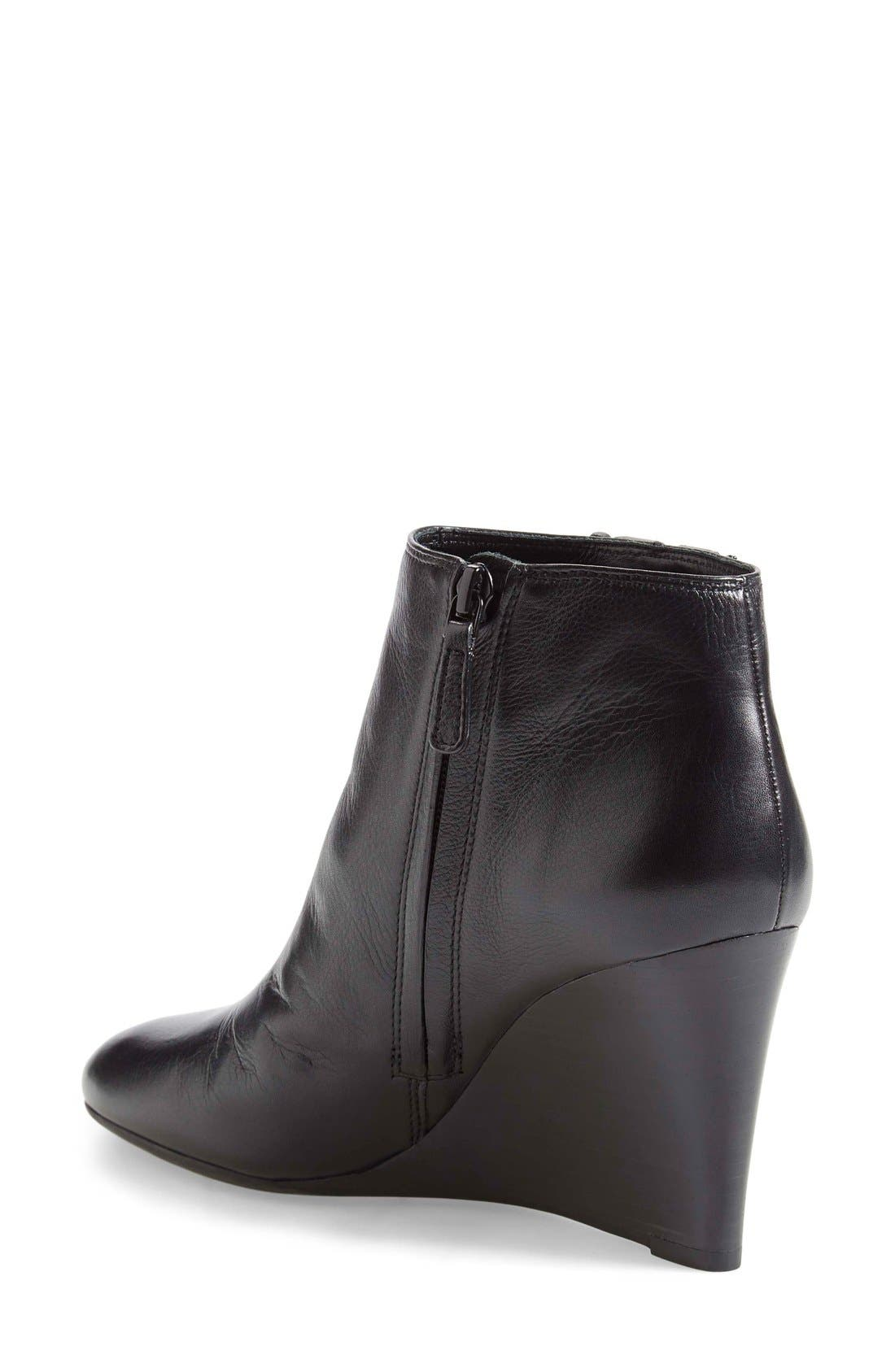 'Lowell' Wedge Bootie,                             Alternate thumbnail 2, color,                             Black Leather