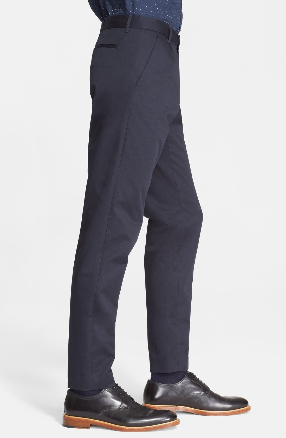 Pleated Cotton Pants,                             Alternate thumbnail 3, color,                             Dark Navy