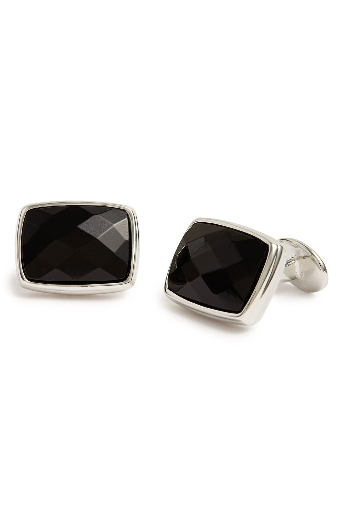 Alternate Image 1 Selected - David Donahue Onyx Cuff Links