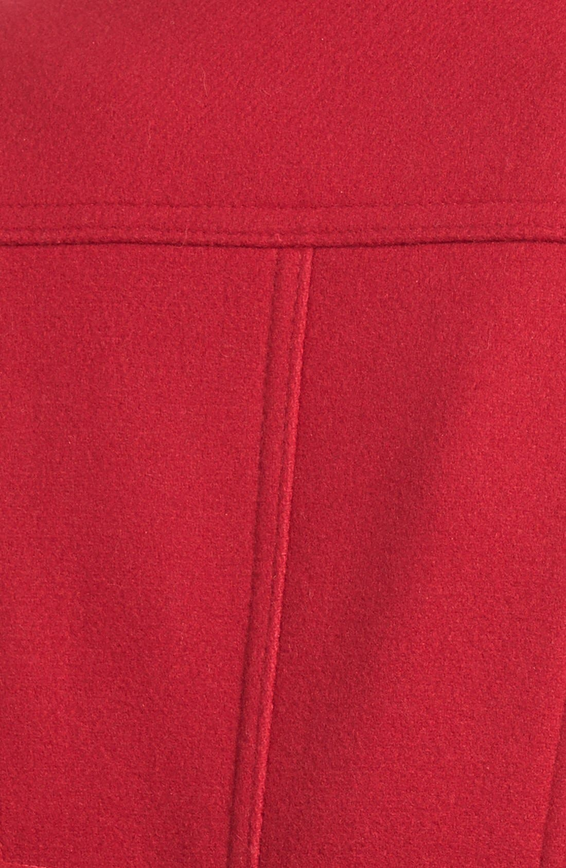 Wool Blend Peacoat,                             Alternate thumbnail 3, color,                             Red