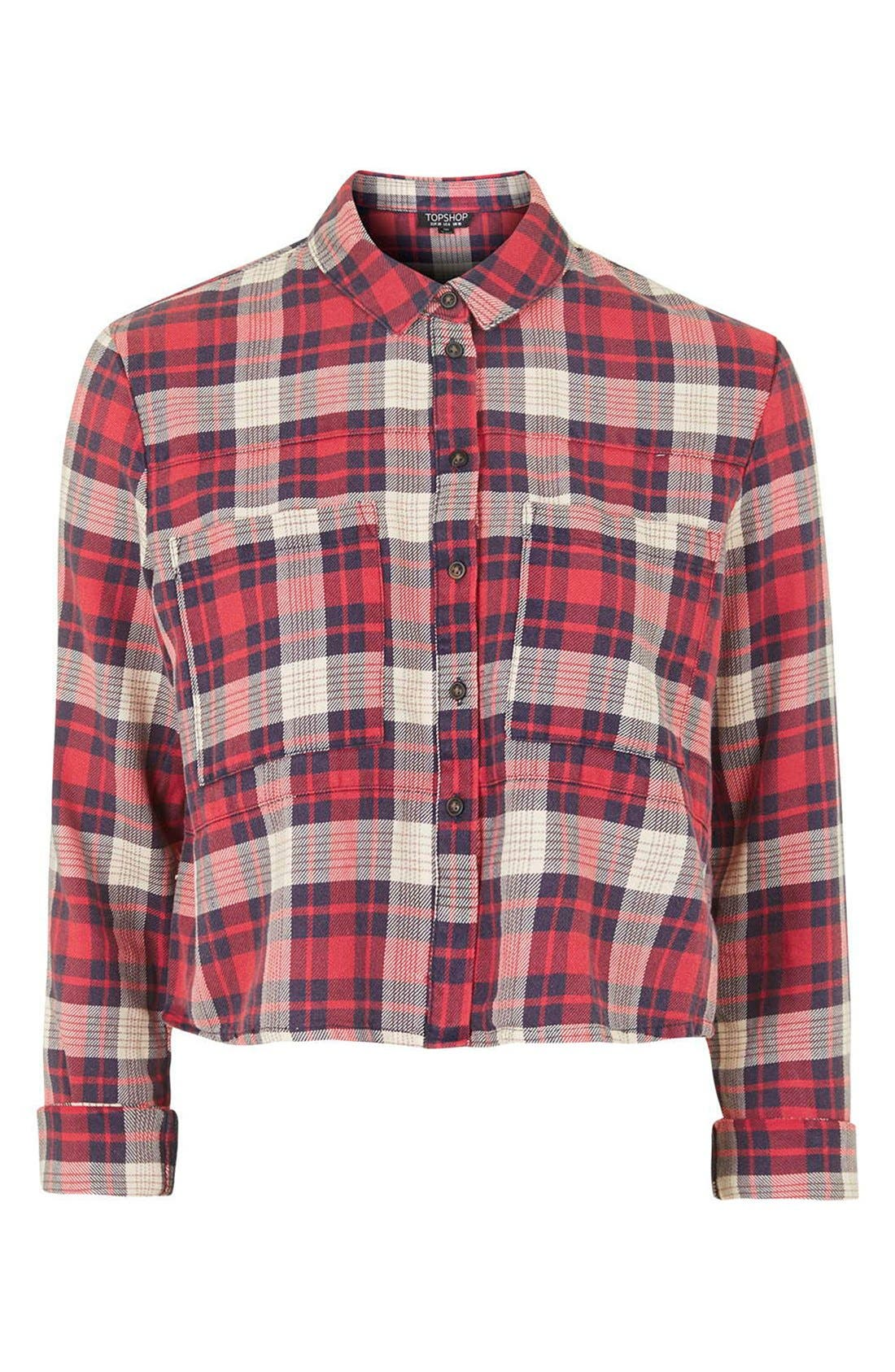 Alternate Image 4  - Topshop 'Chloe' Crop Plaid Shirt
