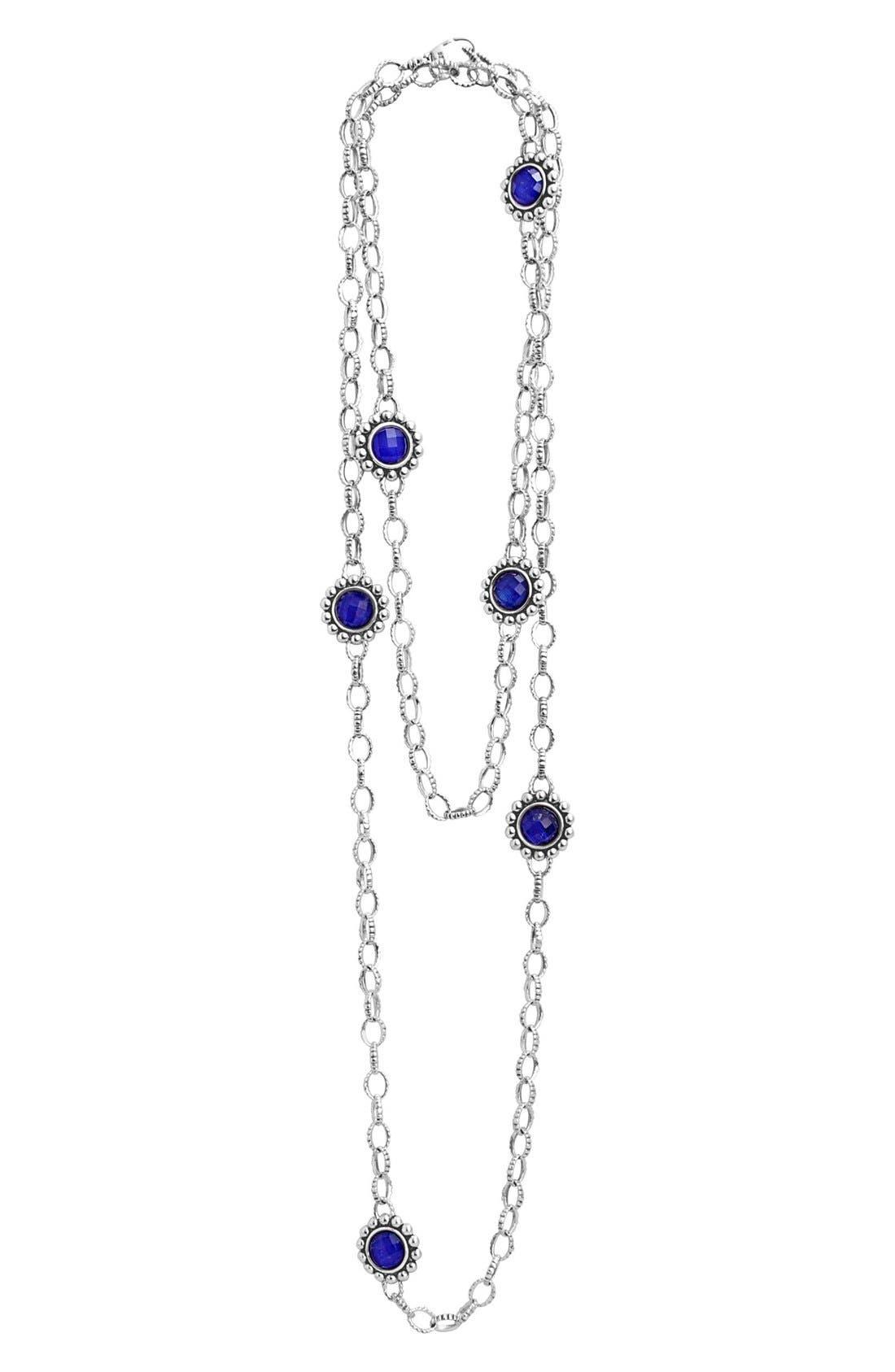 'Maya' Long Station Necklace,                         Main,                         color, Lapis