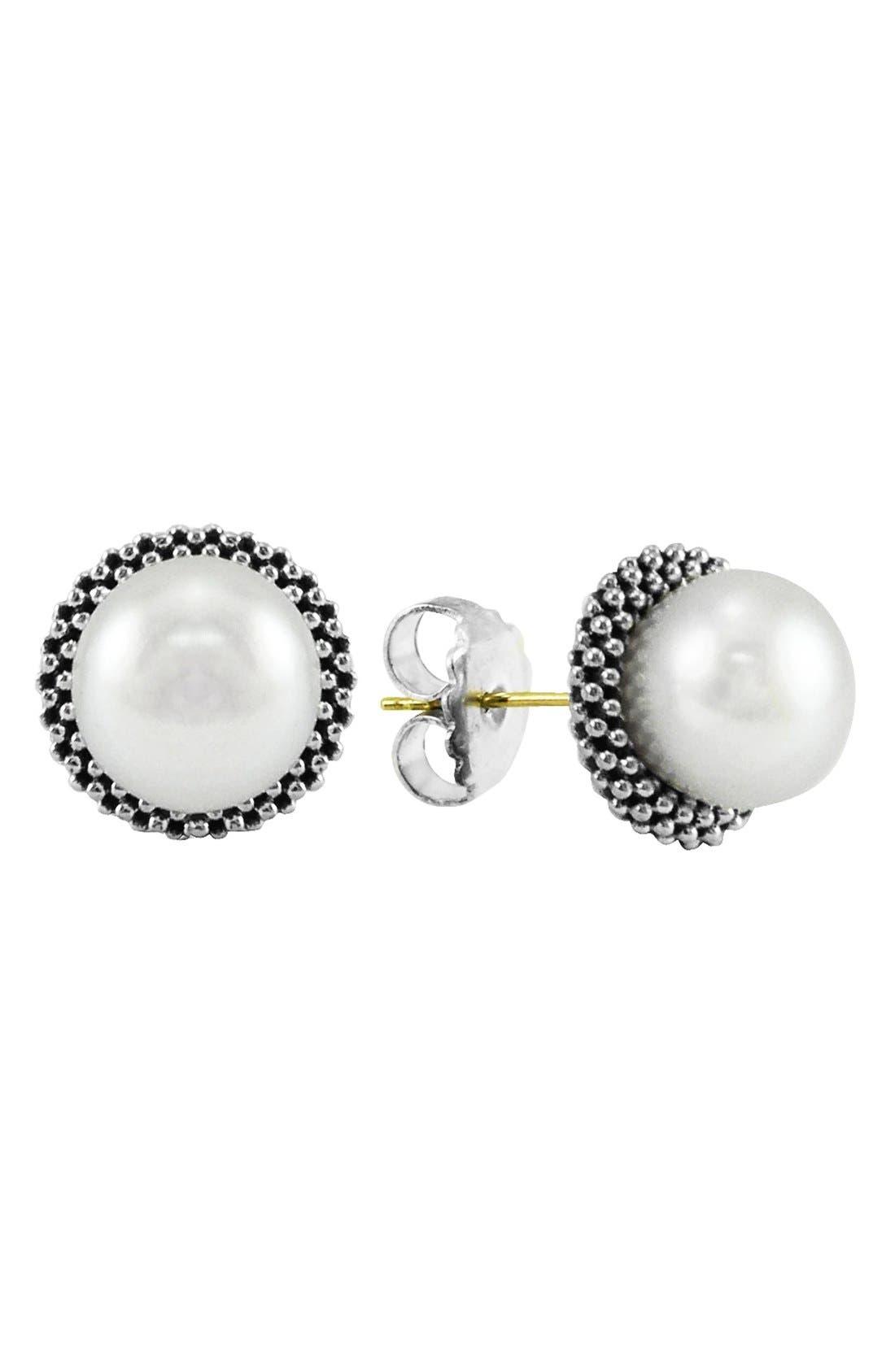 Main Image - LAGOS 'Luna' Pearl Small Stud Earrings