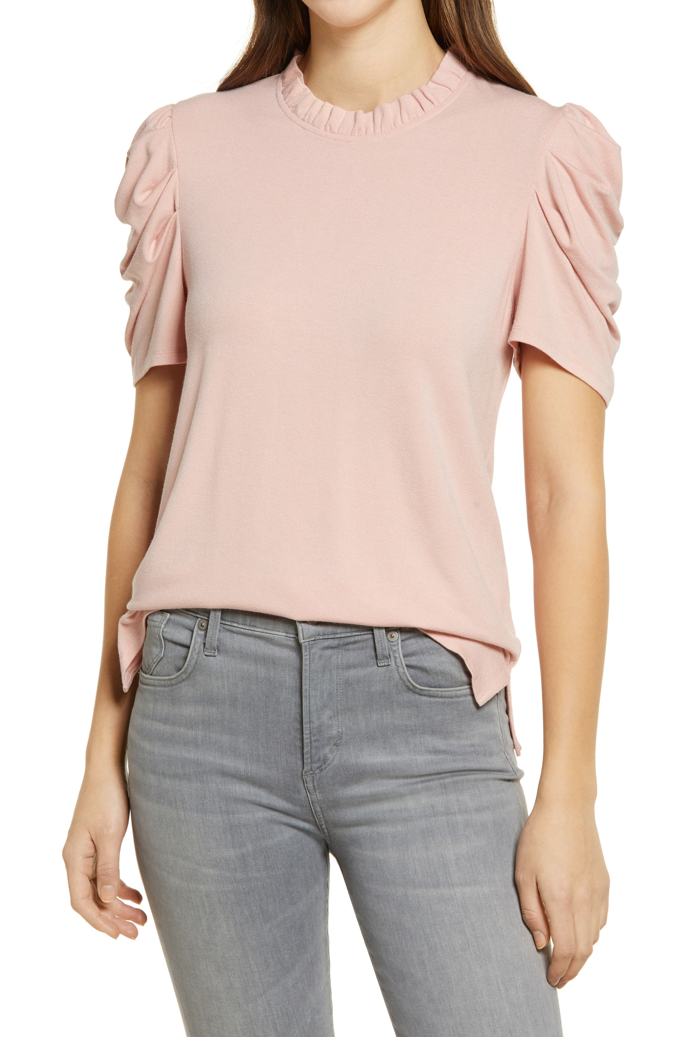 INC Womens Metallic Off-The-Shoulder Pullover Top Pink S