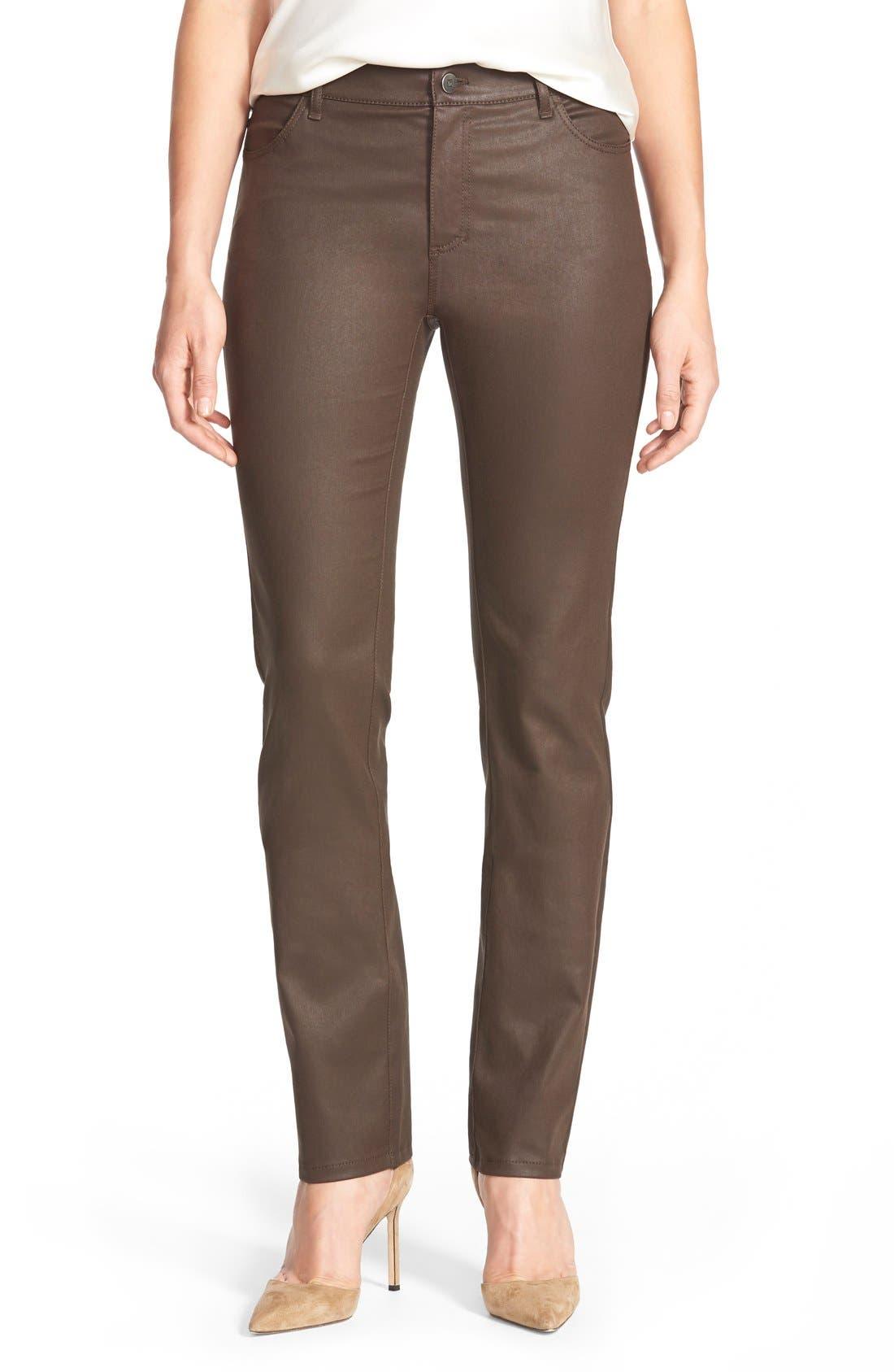 Waxed Denim Slim Leg Jeans,                             Main thumbnail 1, color,                             Coffee