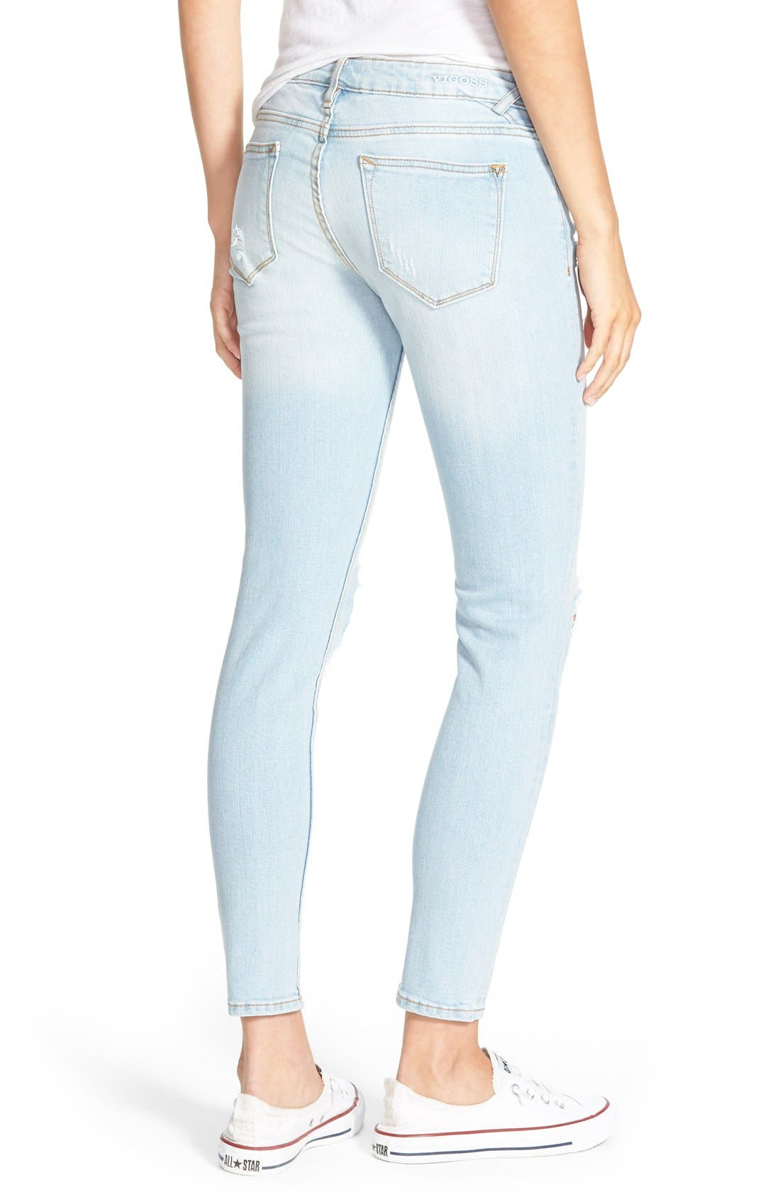 Alternate Image 2  - Vigoss Destroyed Skinny Jeans (Light Wash)