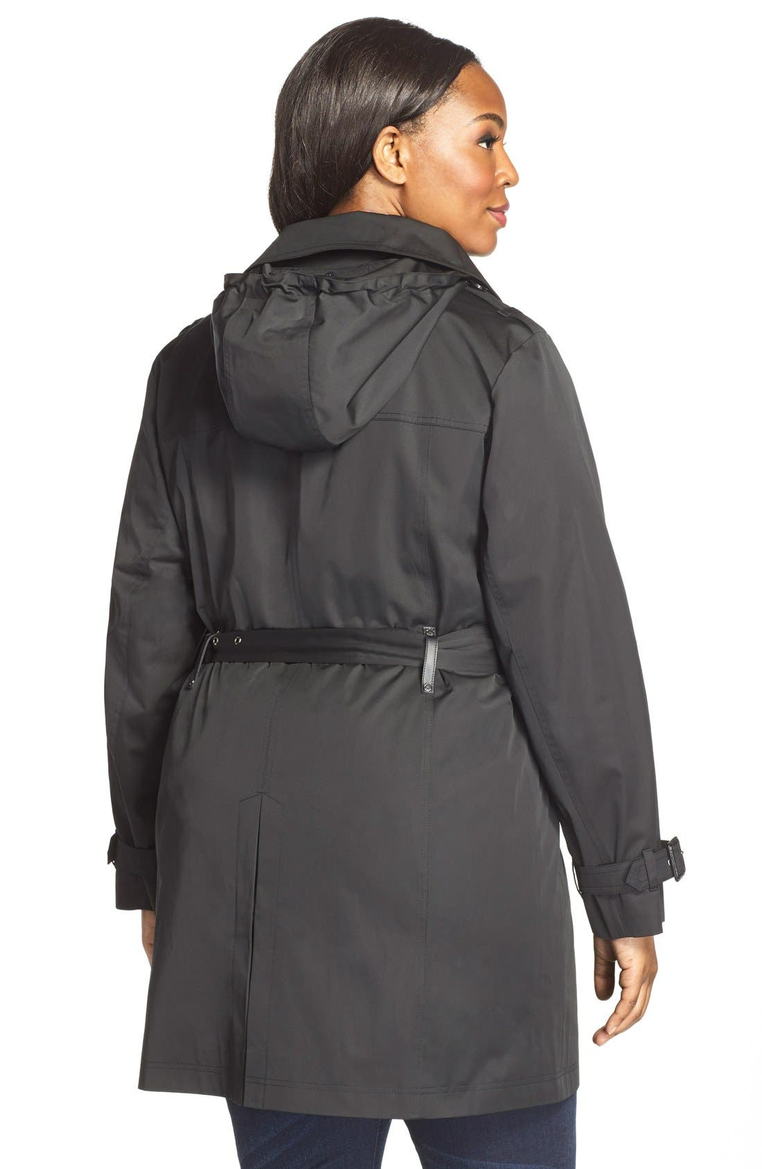 Alternate Image 2  - MICHAEL Michael Kors Single Breasted Raincoat (Plus Size)