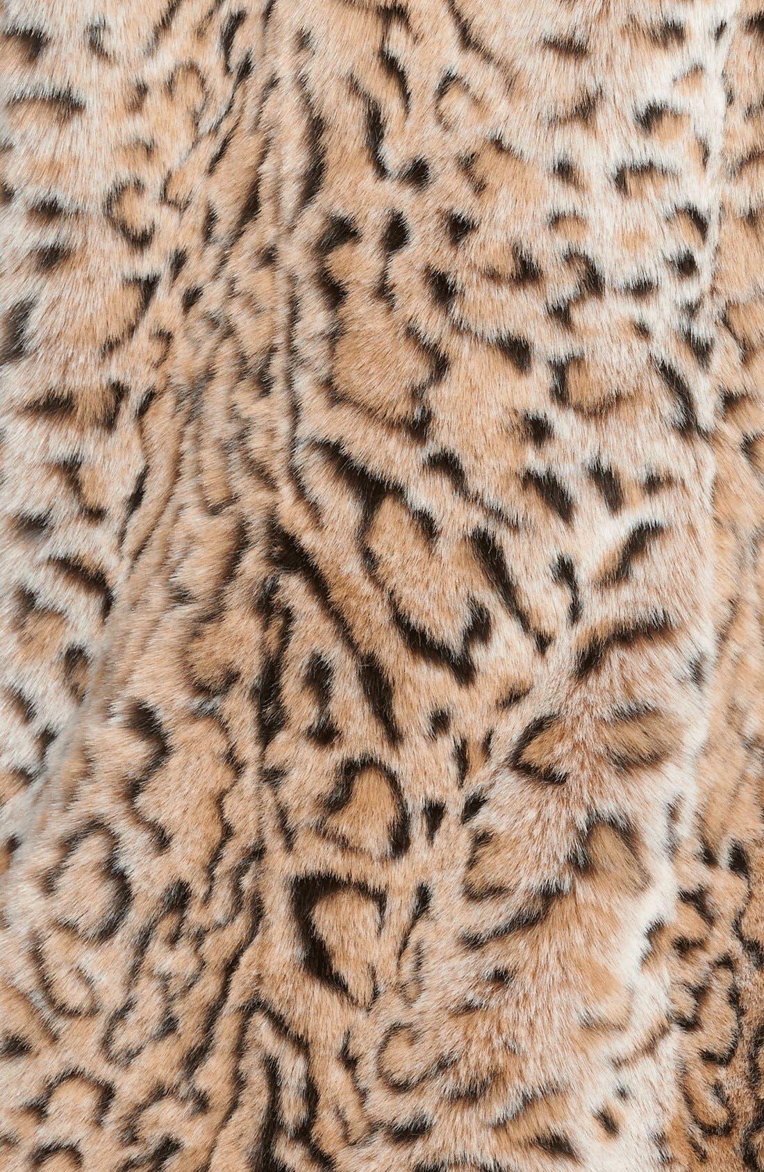 Faux Fur Leopard Print Coat,                             Alternate thumbnail 3, color,                             Leopard