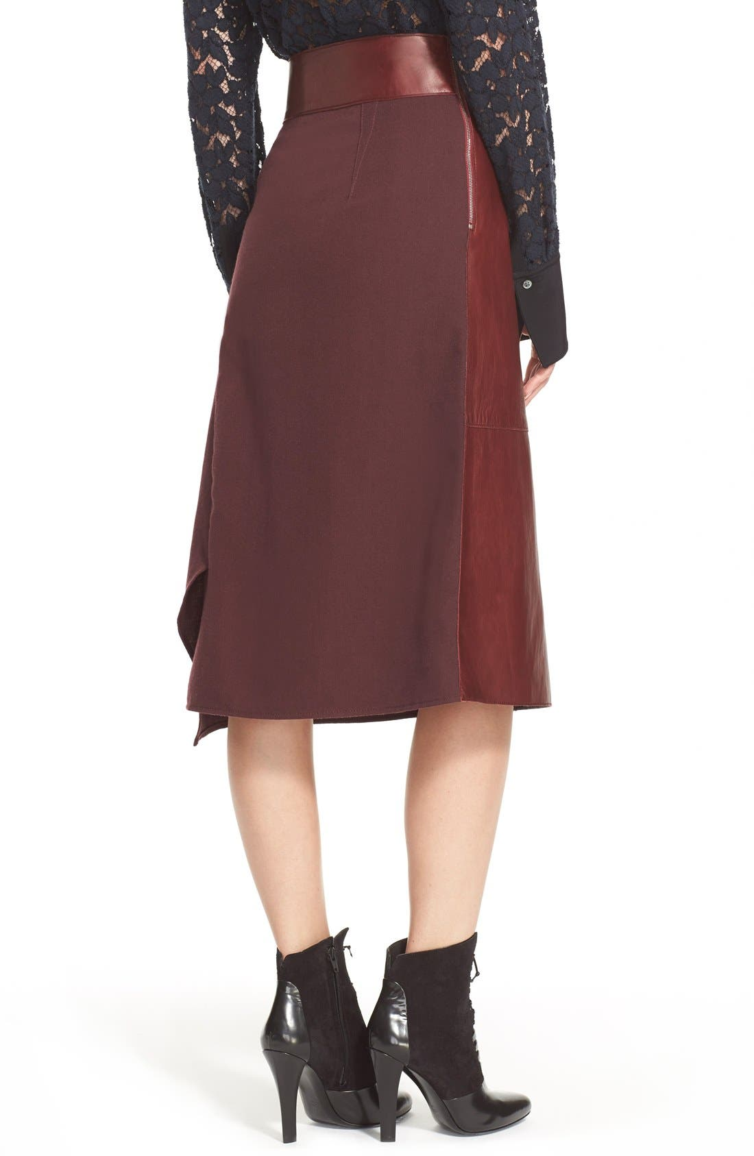 Alternate Image 2  - 3.1 Phillip Lim Leather Contrast Asymmetrical Wool Twill Skirt