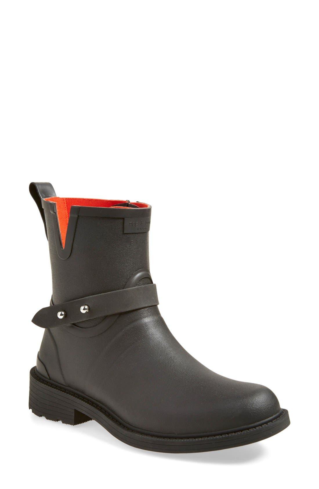 Moto Rain Boot,                             Main thumbnail 1, color,                             Black Rubber