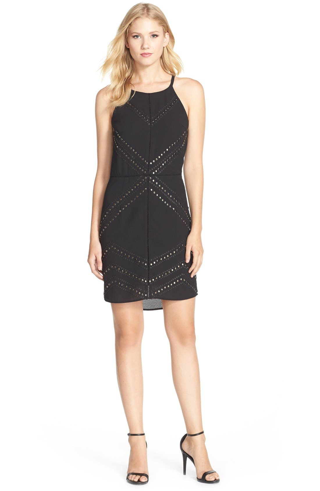 Adelyn Rae Embellished Chiffon Sheath Dress,                             Alternate thumbnail 3, color,                             Black