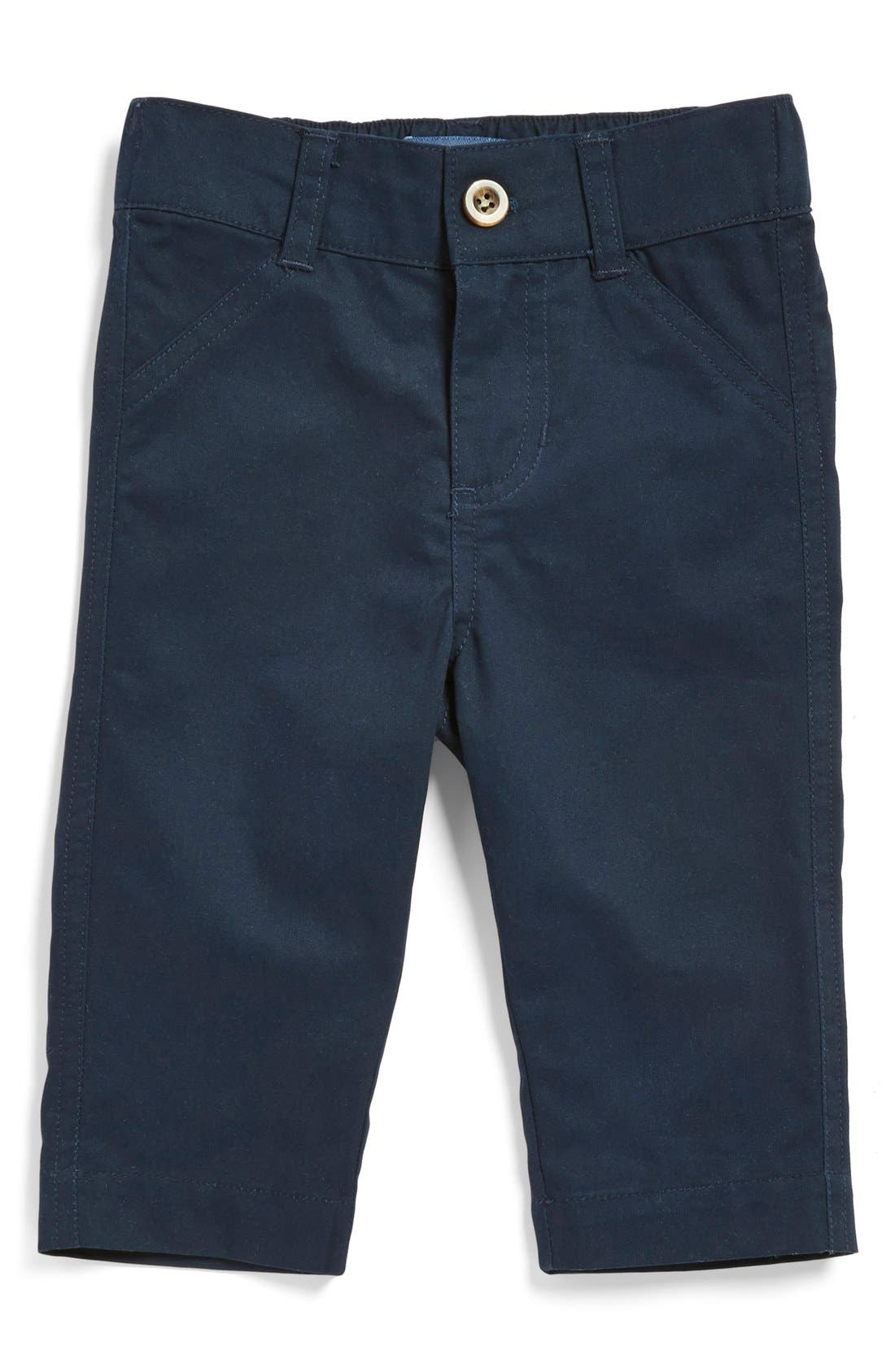 Alternate Image 1 Selected - Andy & Evan Flat Front Twill Pants (Baby Boys)