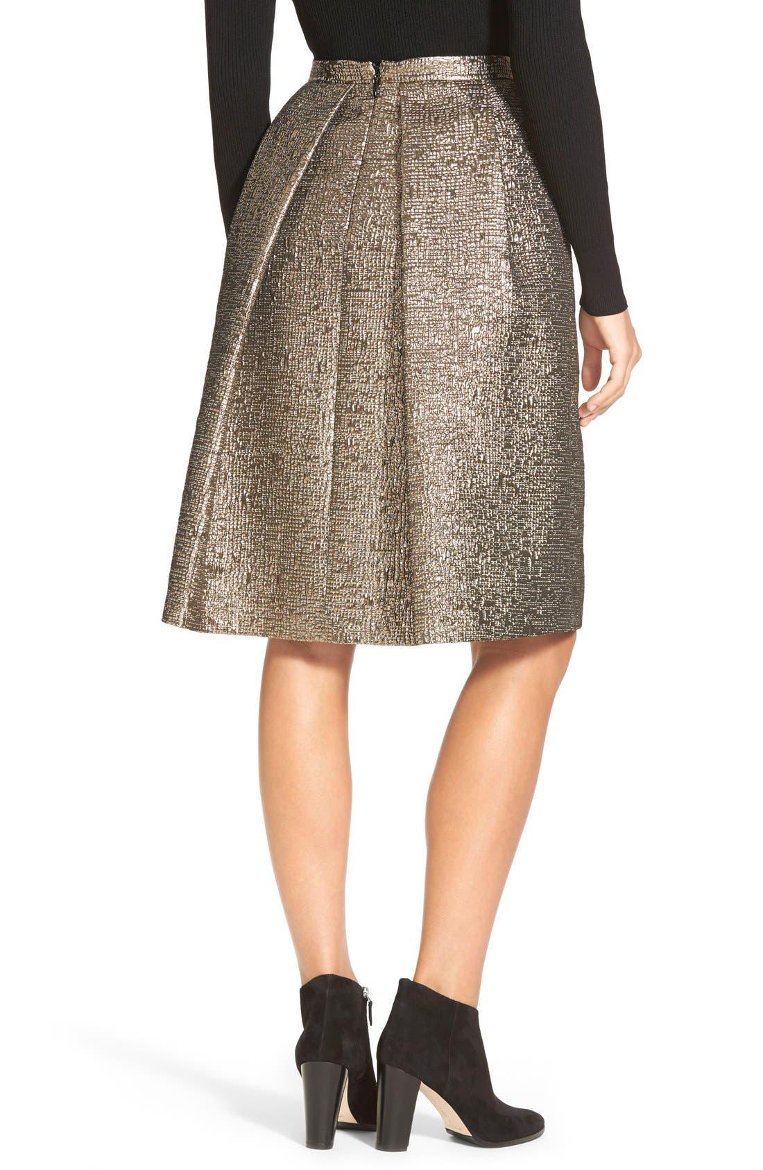 Alternate Image 2  - Pink Tartan 'Tabitha' Metallic Cloqué Skirt