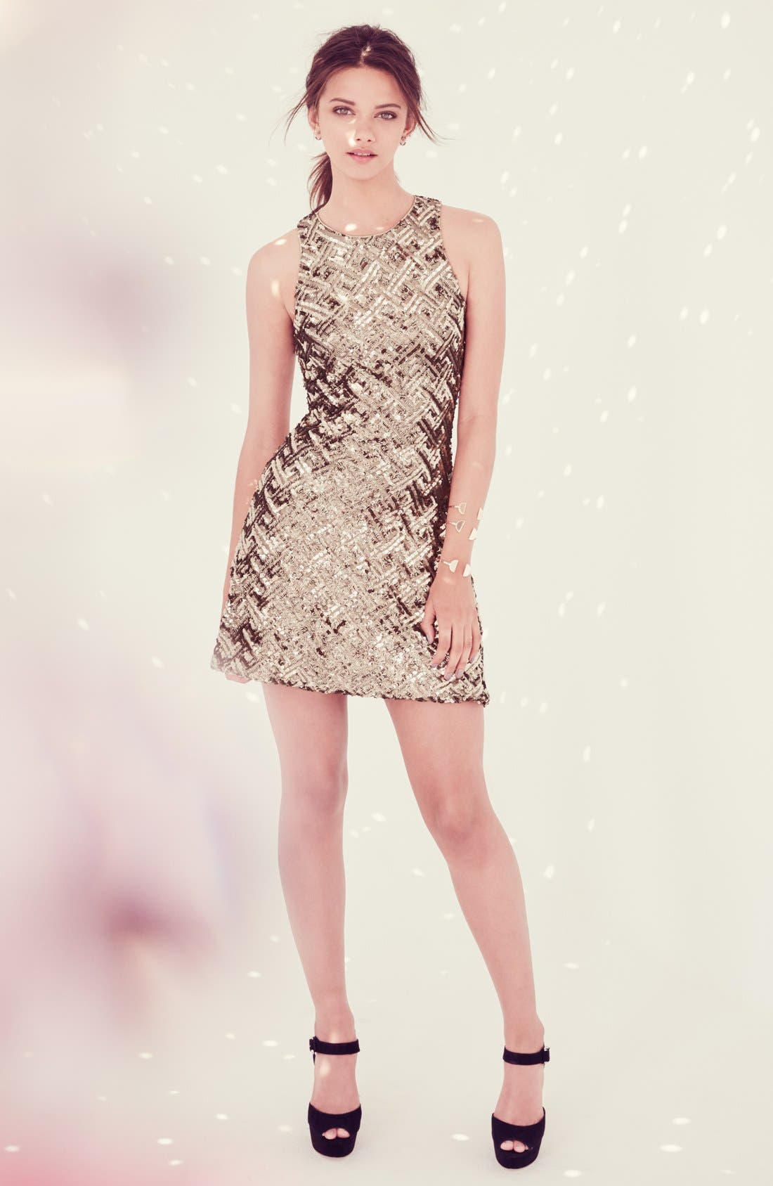 Alternate Image 6  - Dress the Population 'Mia' Sequin Cutaway Fit & Flare Dress