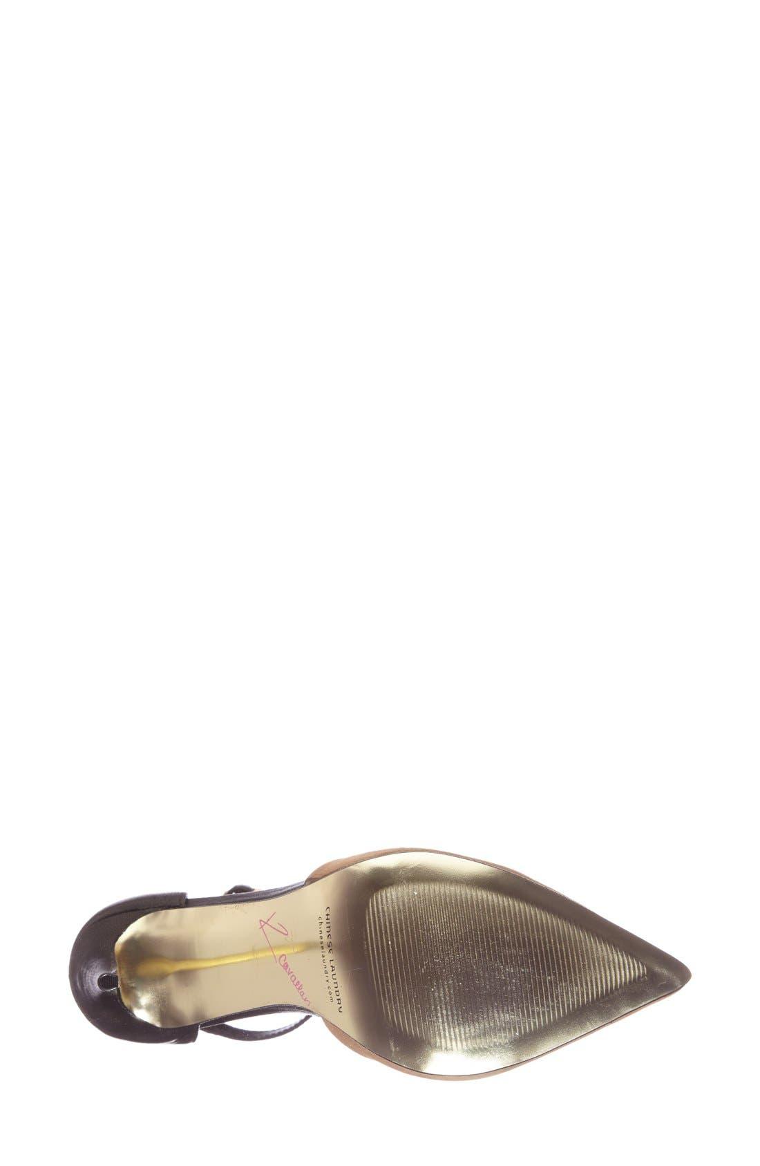 Ankle Strap Pump,                             Alternate thumbnail 4, color,                             Black/ Camel Suede