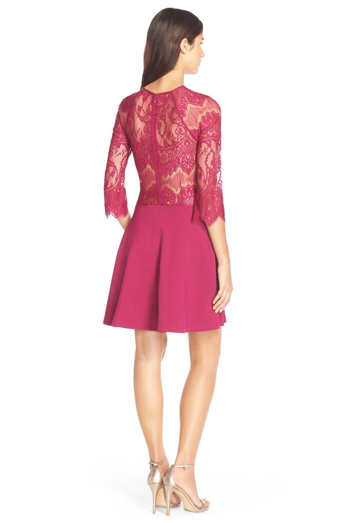 Alternate Image 2  - BB Dakota 'Yale' Lace Panel Fit & Flare Dress