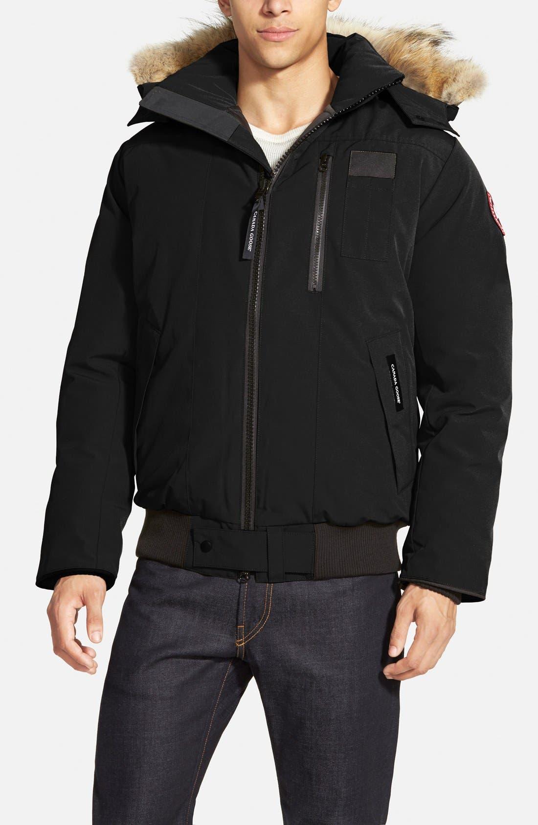 'Borden' Regular Fit Bomber Jacket with Genuine Coyote Trim,                             Main thumbnail 1, color,                             Black