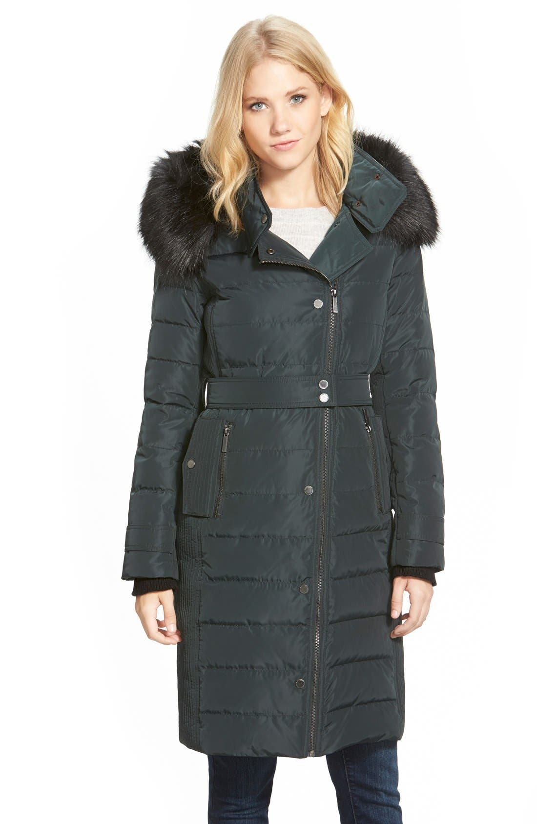 Main Image - French Connection Asymmetrical Down Coat with Faux Fur Trim