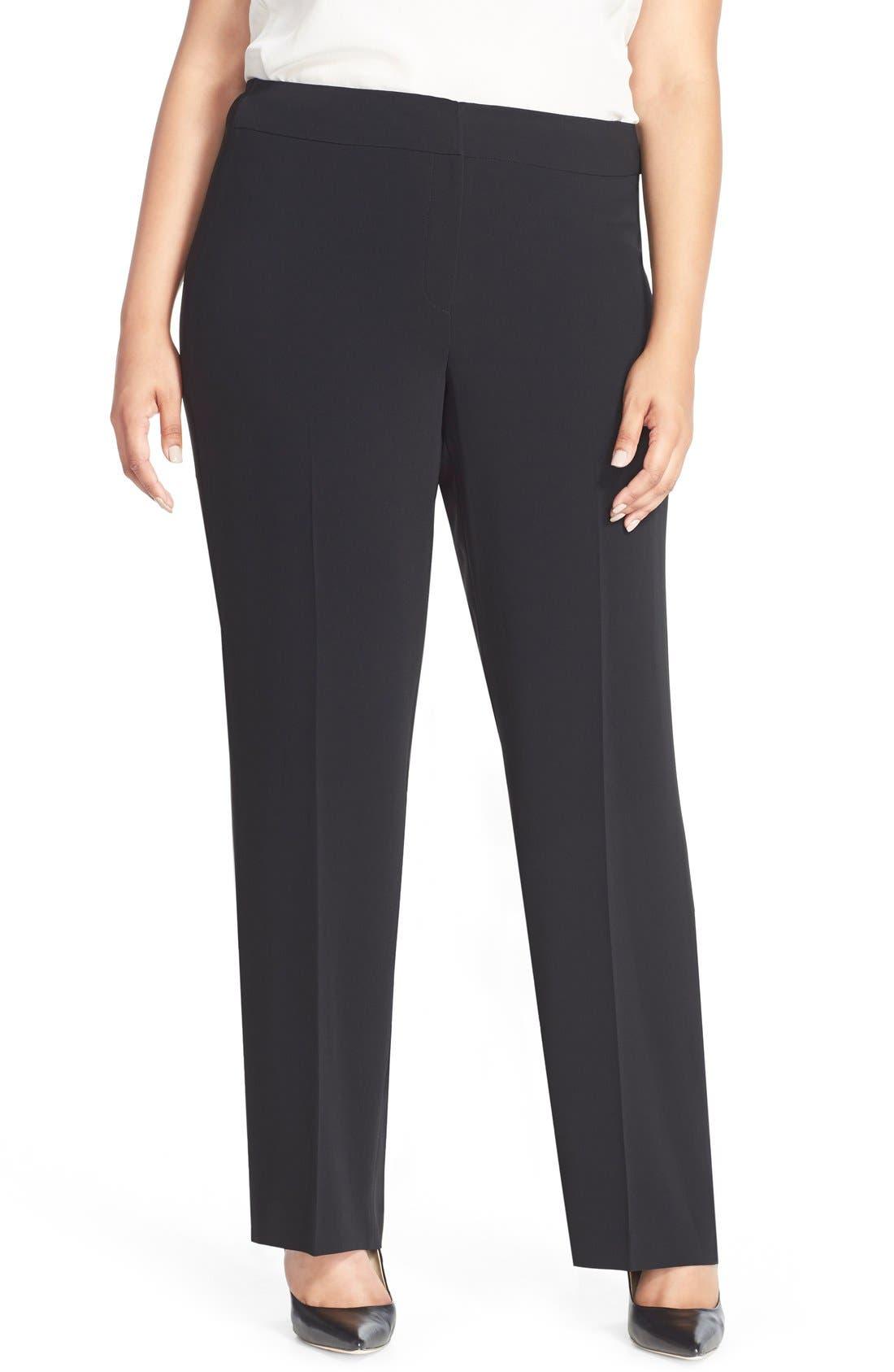 Straight Leg Suit Pants,                             Main thumbnail 1, color,                             Black