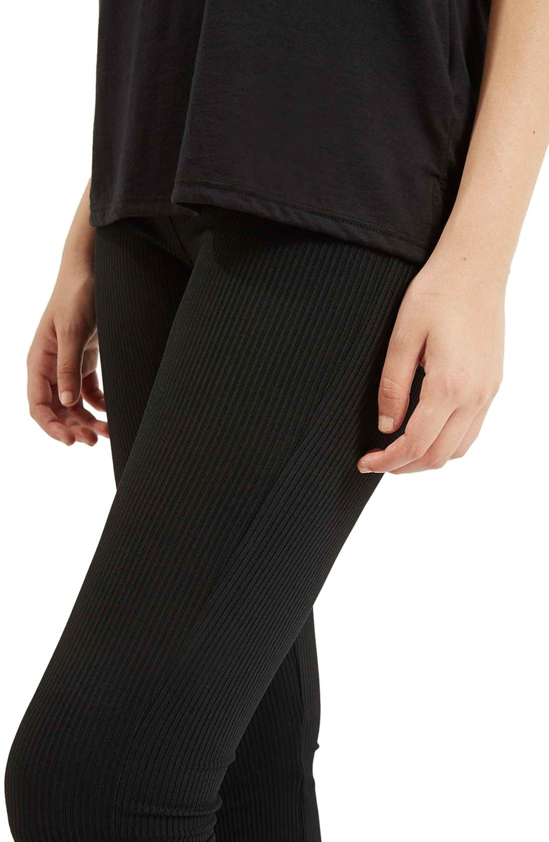 Ribbed Flare Pants,                             Alternate thumbnail 5, color,                             Black
