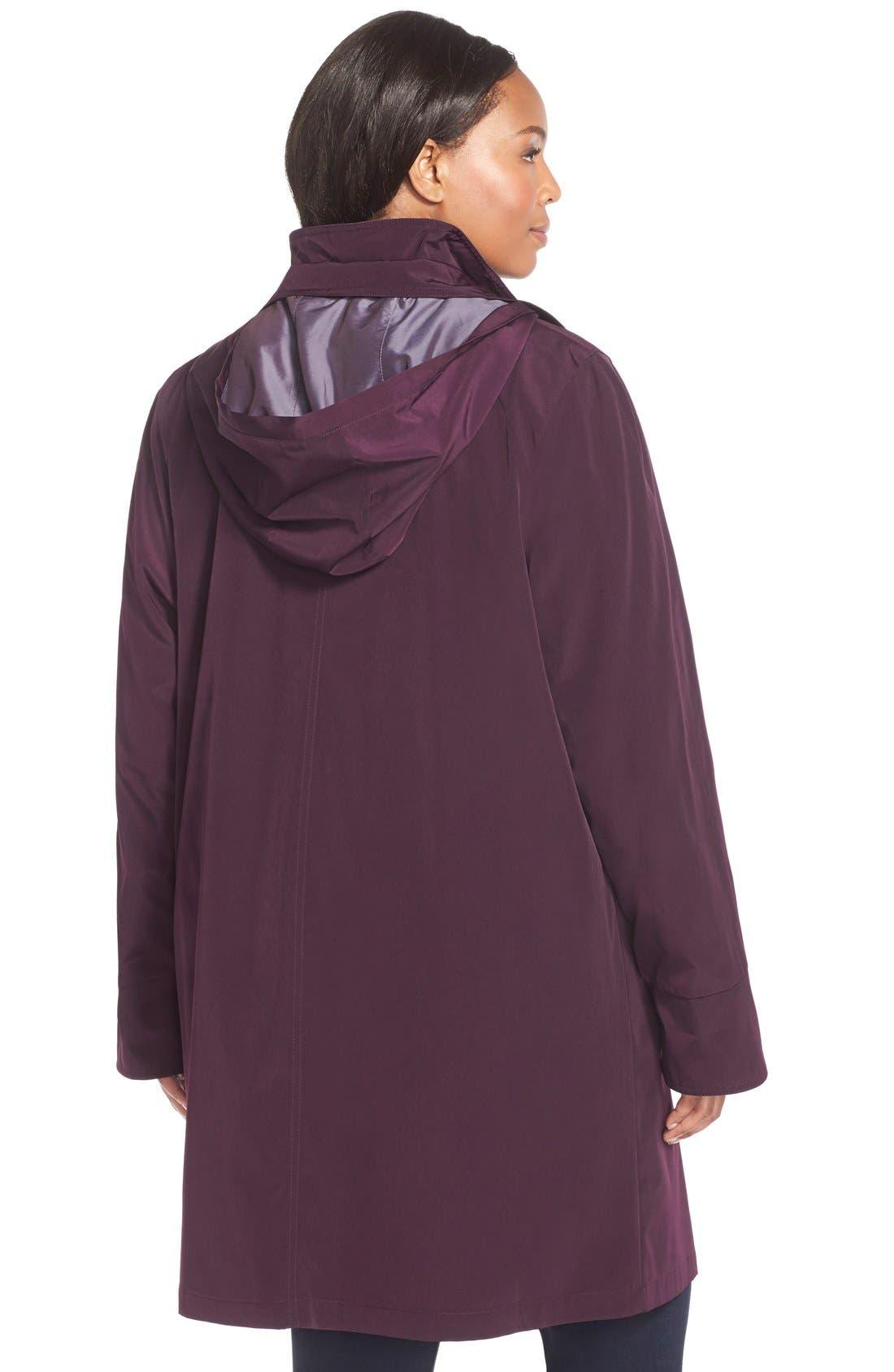 Alternate Image 2  - Gallery Two-Tone Long Silk Look Raincoat (Plus Size)