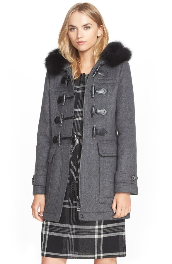Burberry Brit 'Blackwell' Wool Duffle Coat with Genuine Fox Fur ...