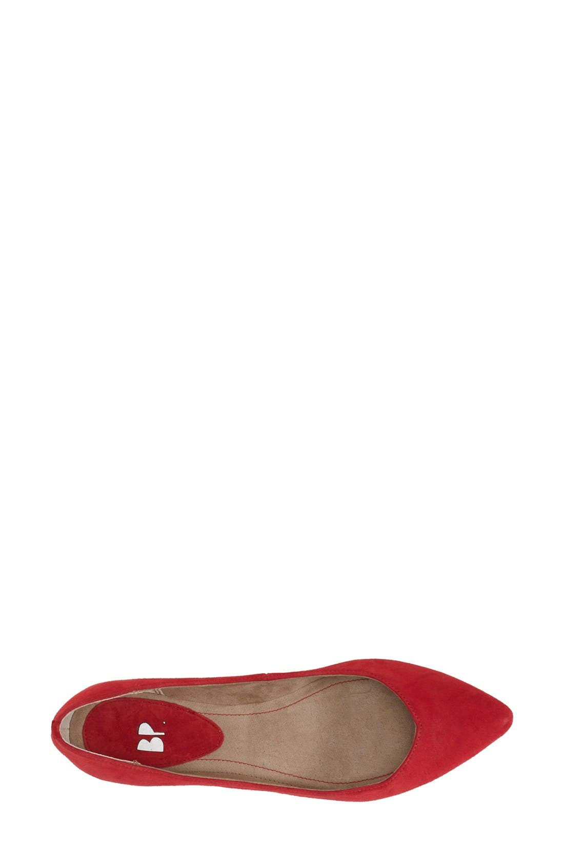 'Moveover' Pointy Toe Leather Flat,                             Alternate thumbnail 4, color,                             Red Suede