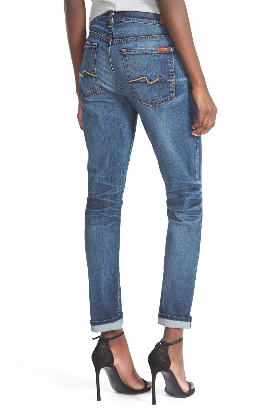 Alternate Image 2  - 7 For All Mankind® 'Josefina' Mid Rise Boyfriend Jeans (Marie Vintage Blue 3)