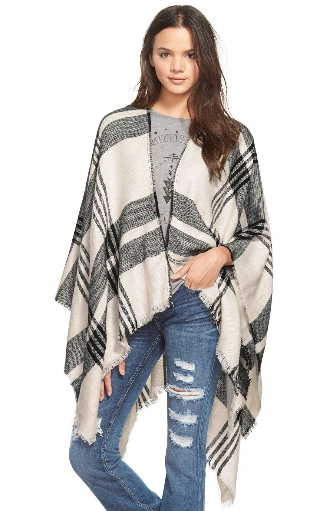 BP. Plaid Poncho