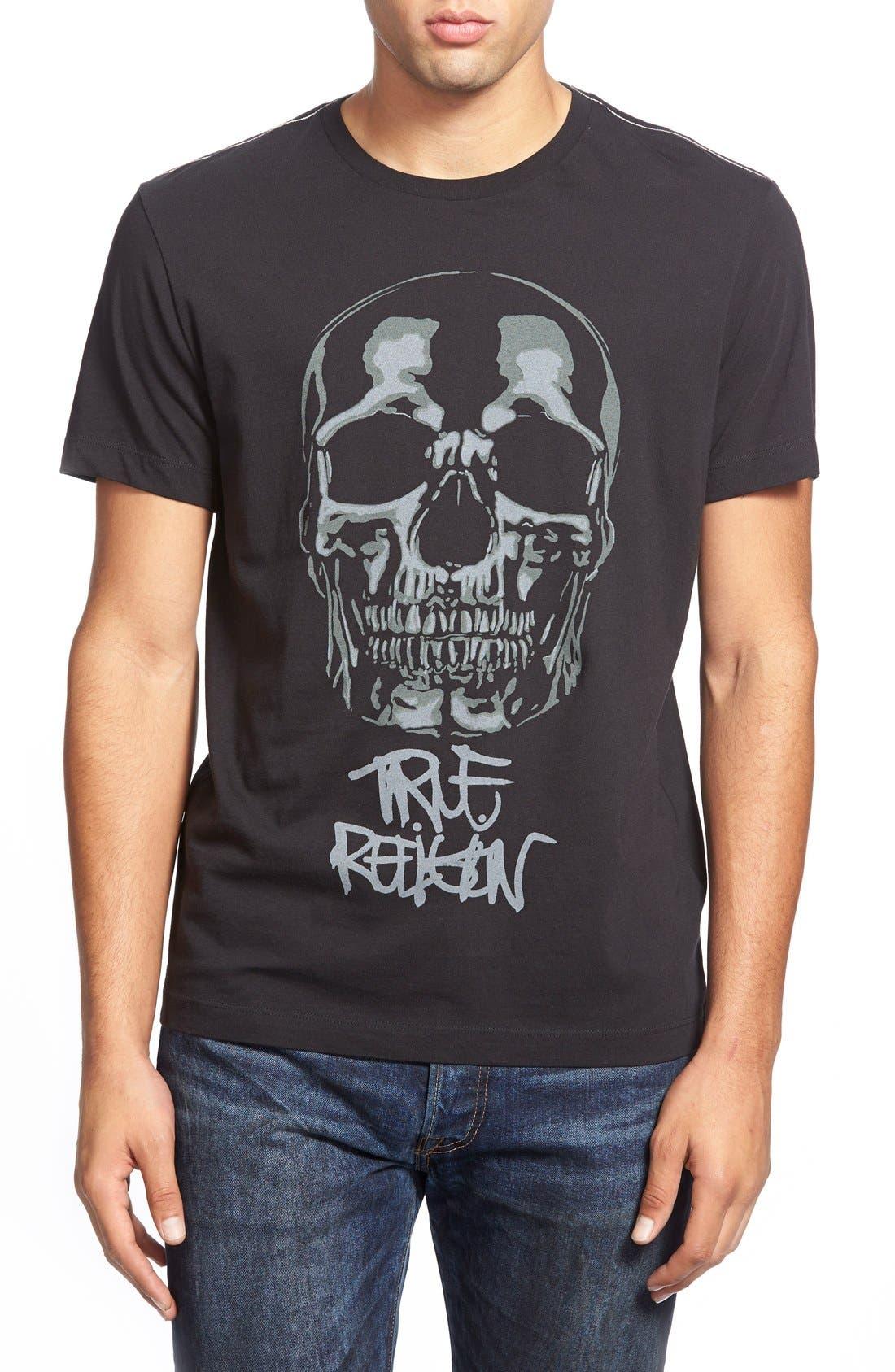 True Religion Brand Jeans 'Graf Skull' Crewneck T-Shirt