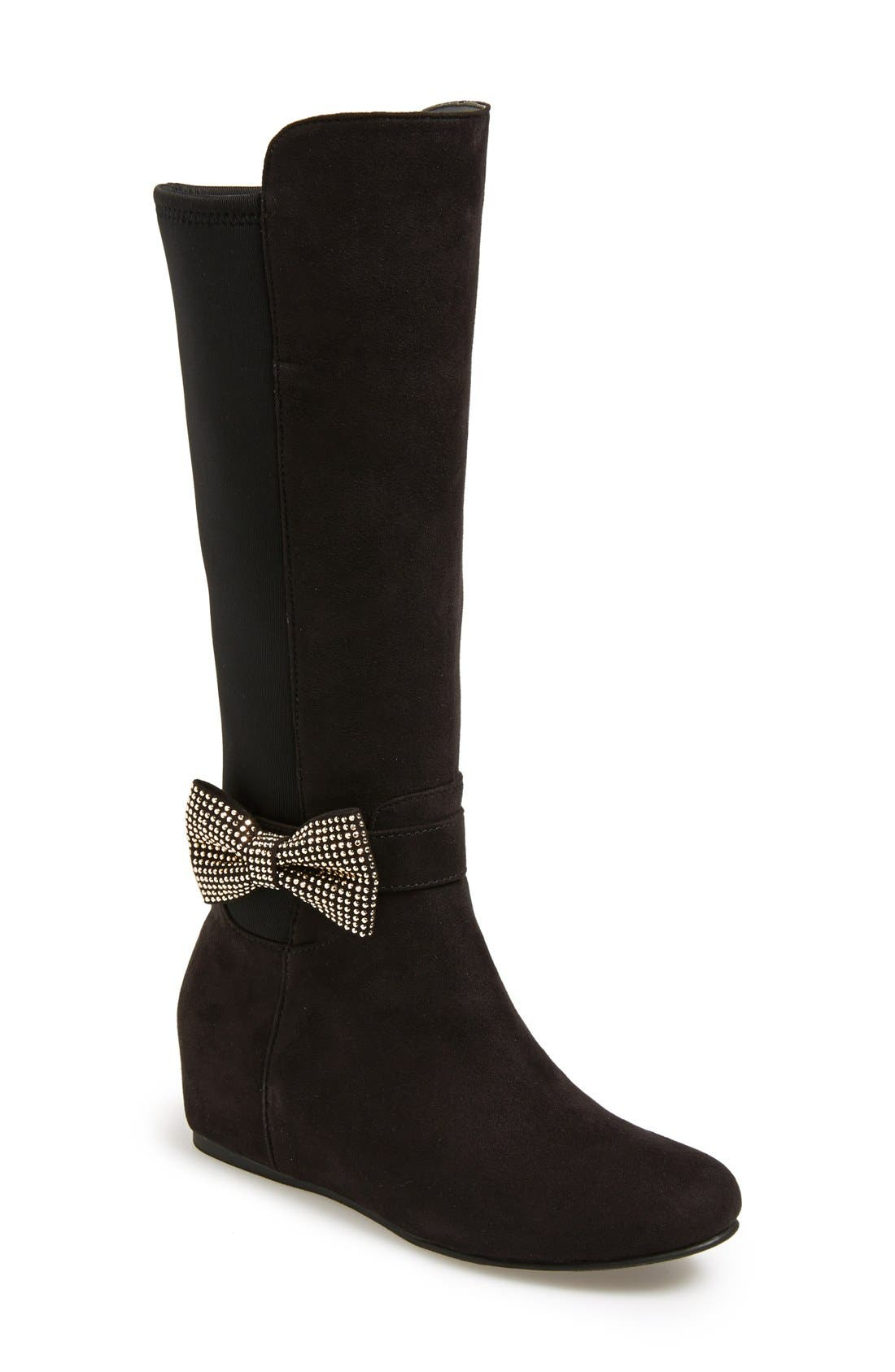 'Iselle' Bow Boot,                         Main,                         color, Black