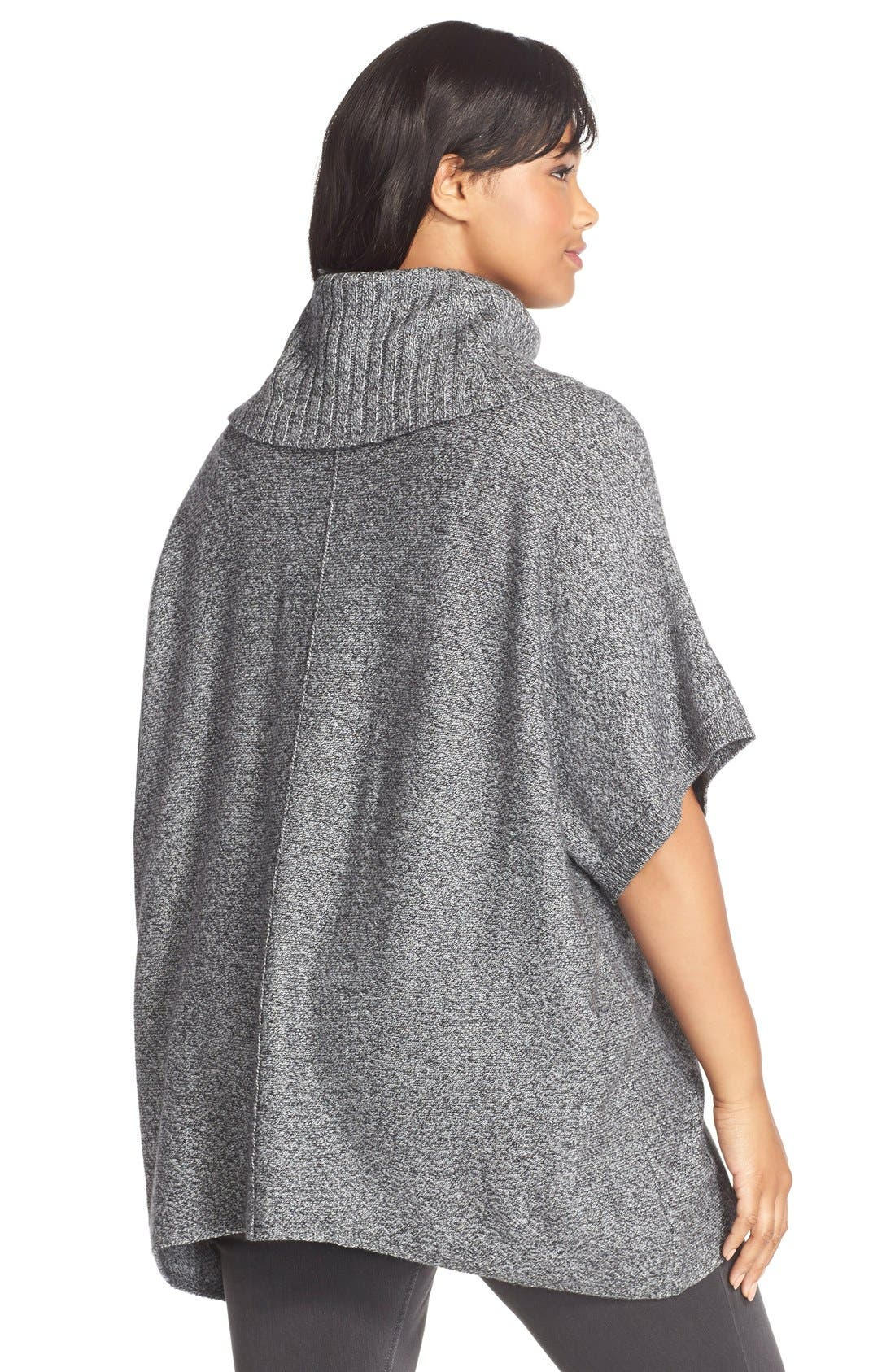 Cowl Neck Pullover,                             Alternate thumbnail 2, color,                             Grey Ivory Tweed Pattern