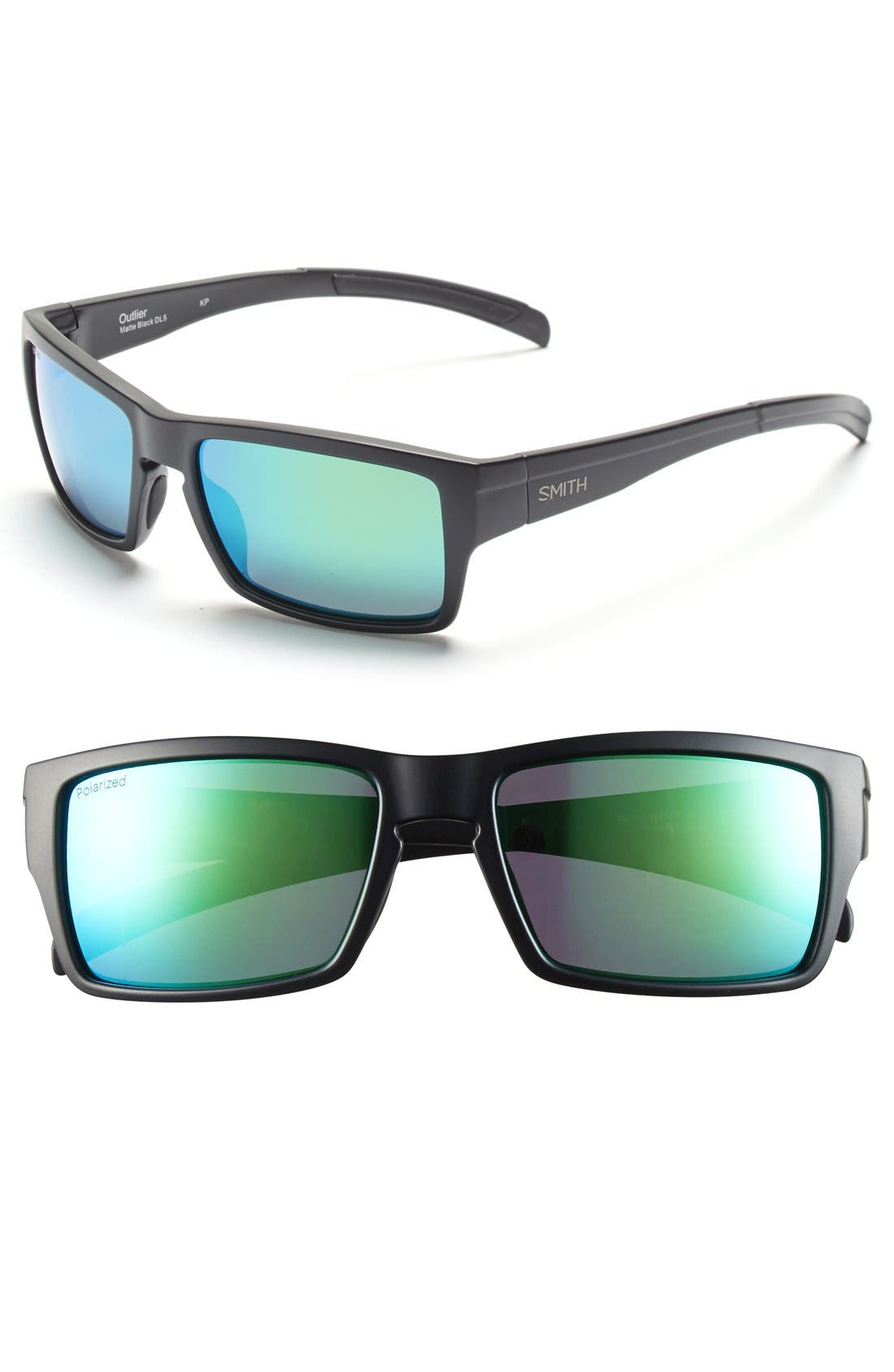 'Outlier' 56mm Polarized Sunglasses,                         Main,                         color, Matte Black/ Polar Green Sol-X