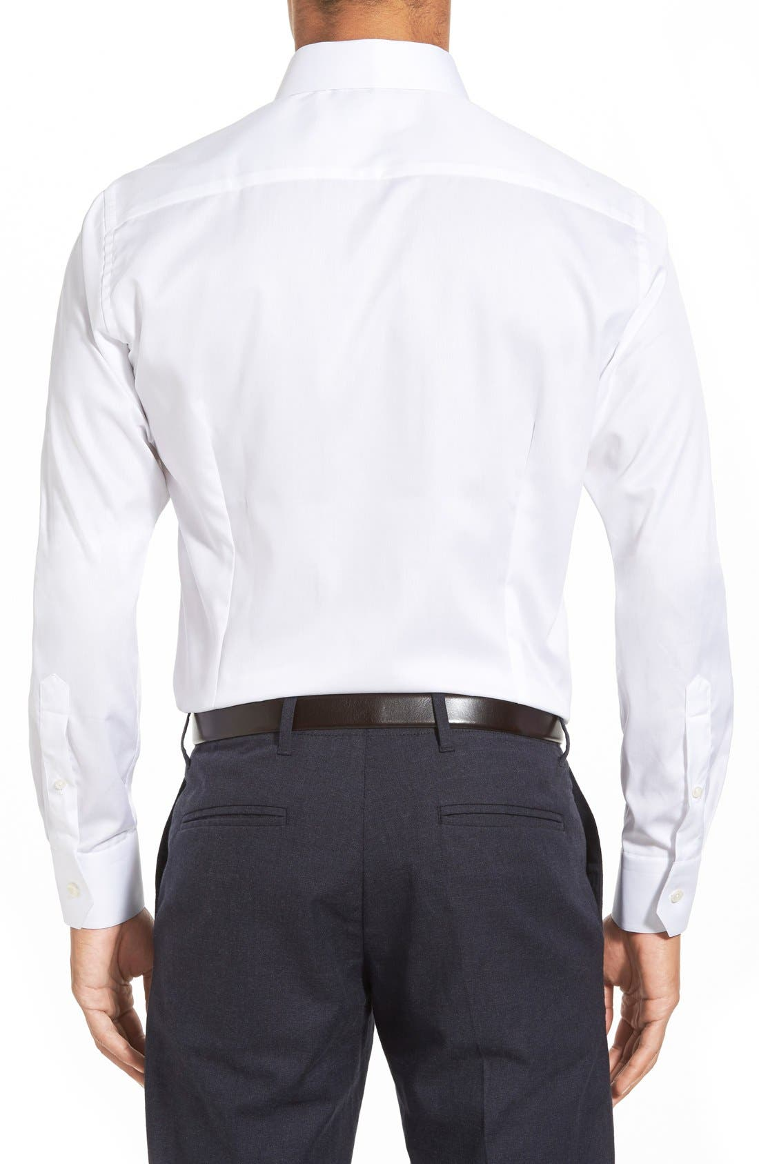 Slim Fit Twill Dress Shirt,                             Alternate thumbnail 2, color,                             White