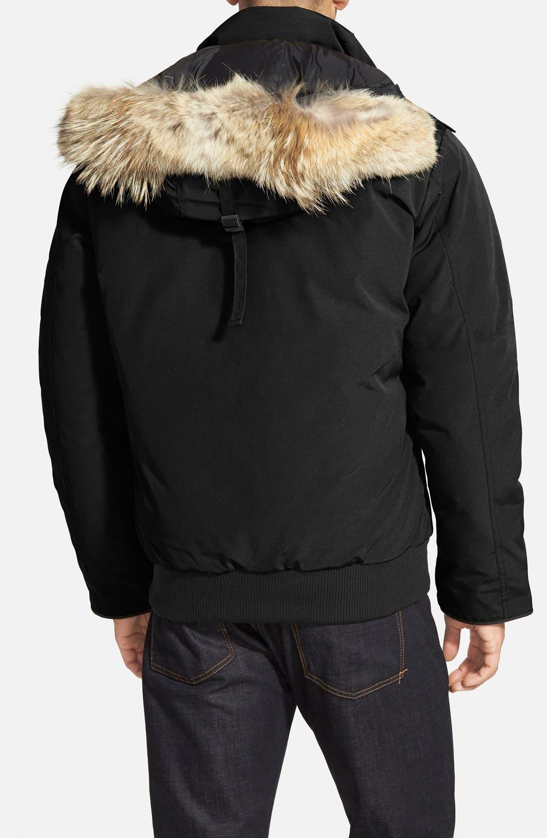 'Borden' Regular Fit Bomber Jacket with Genuine Coyote Trim,                             Alternate thumbnail 2, color,                             Black