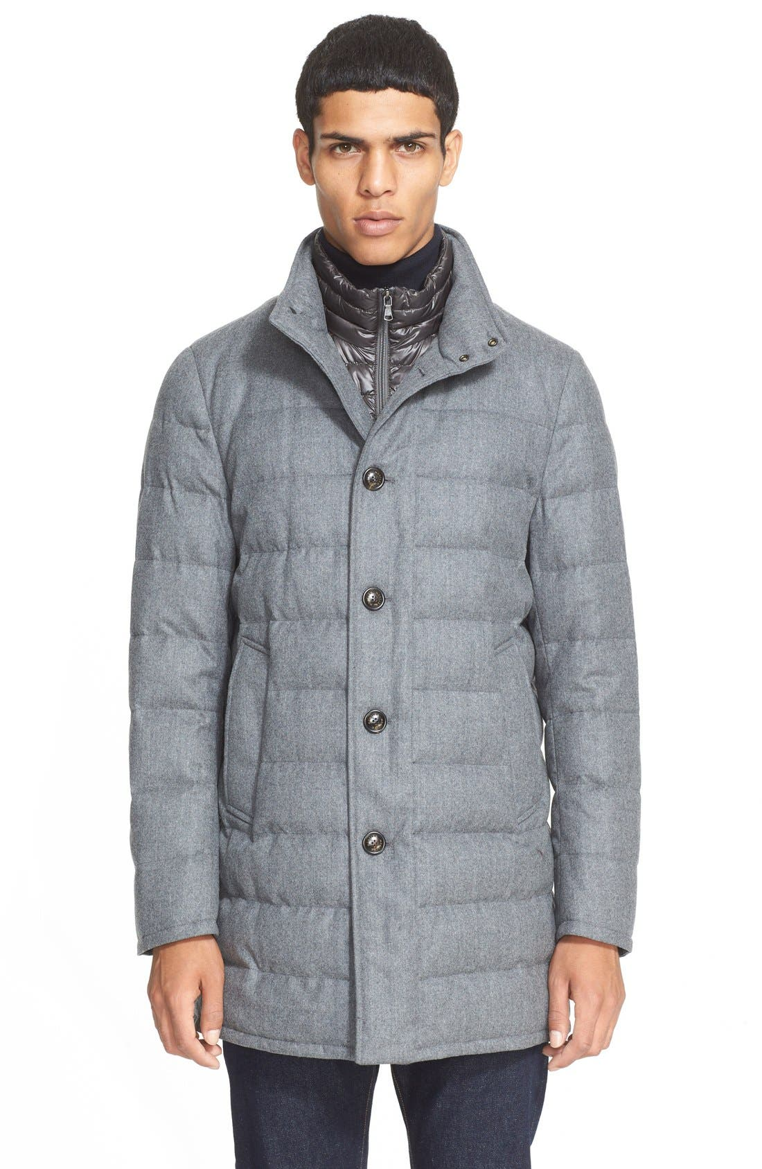 Main Image - Moncler 'Vallier' Quilted Wool Down Topcoat