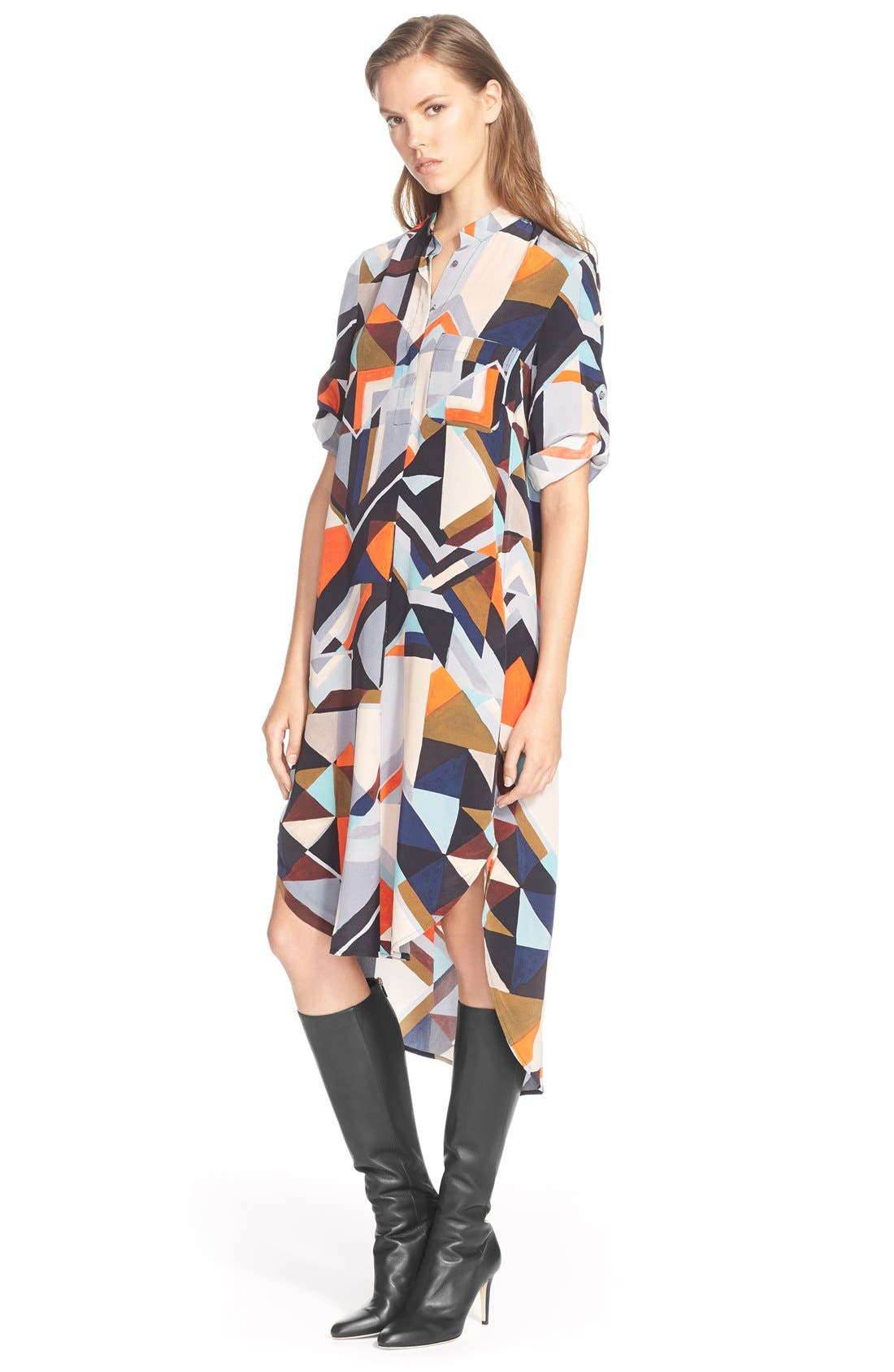 Alternate Image 1 Selected - Foundrae Long Sleeve Print Silk Shirtdress