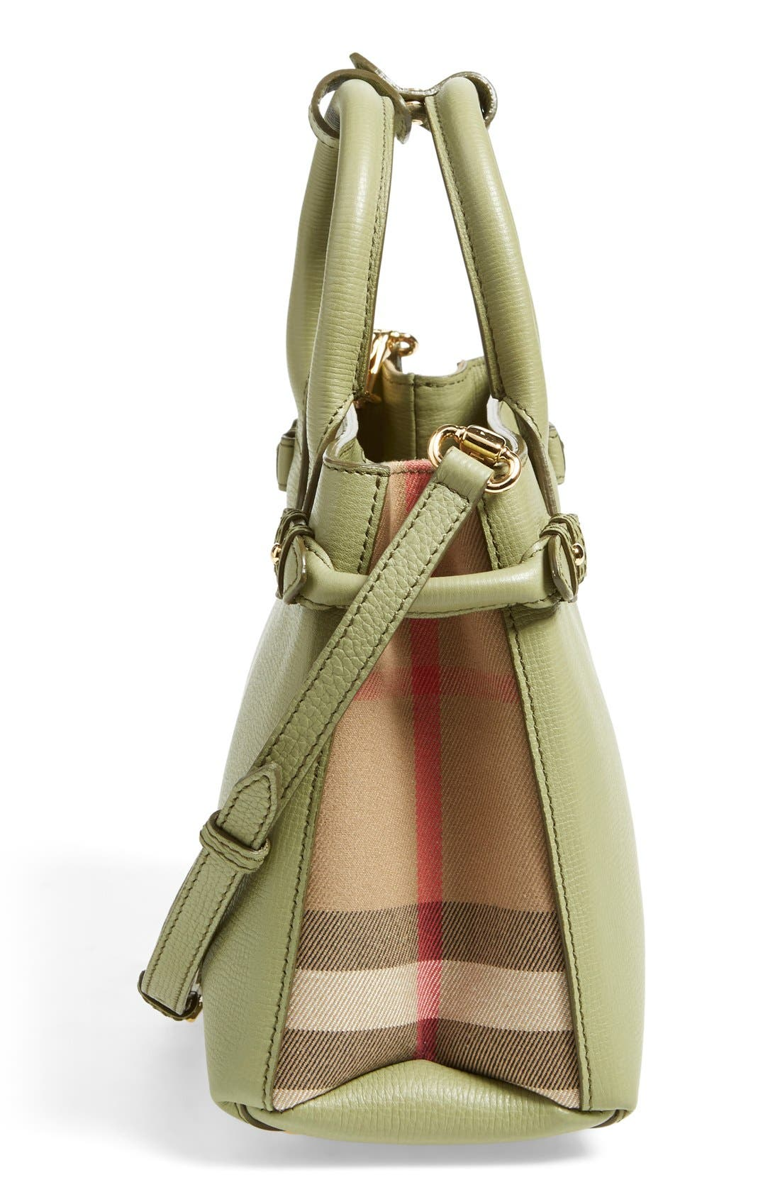 'Small Banner' Leather Tote,                             Alternate thumbnail 5, color,                             Pale Pistachio Green