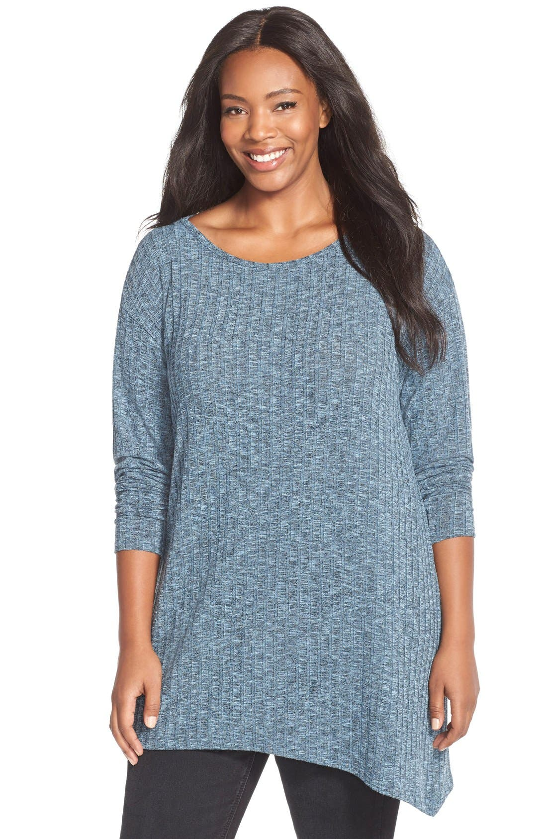 Asymmetrical Slub Knit Tunic,                             Main thumbnail 1, color,                             Blue Black Slub Rib Pattern
