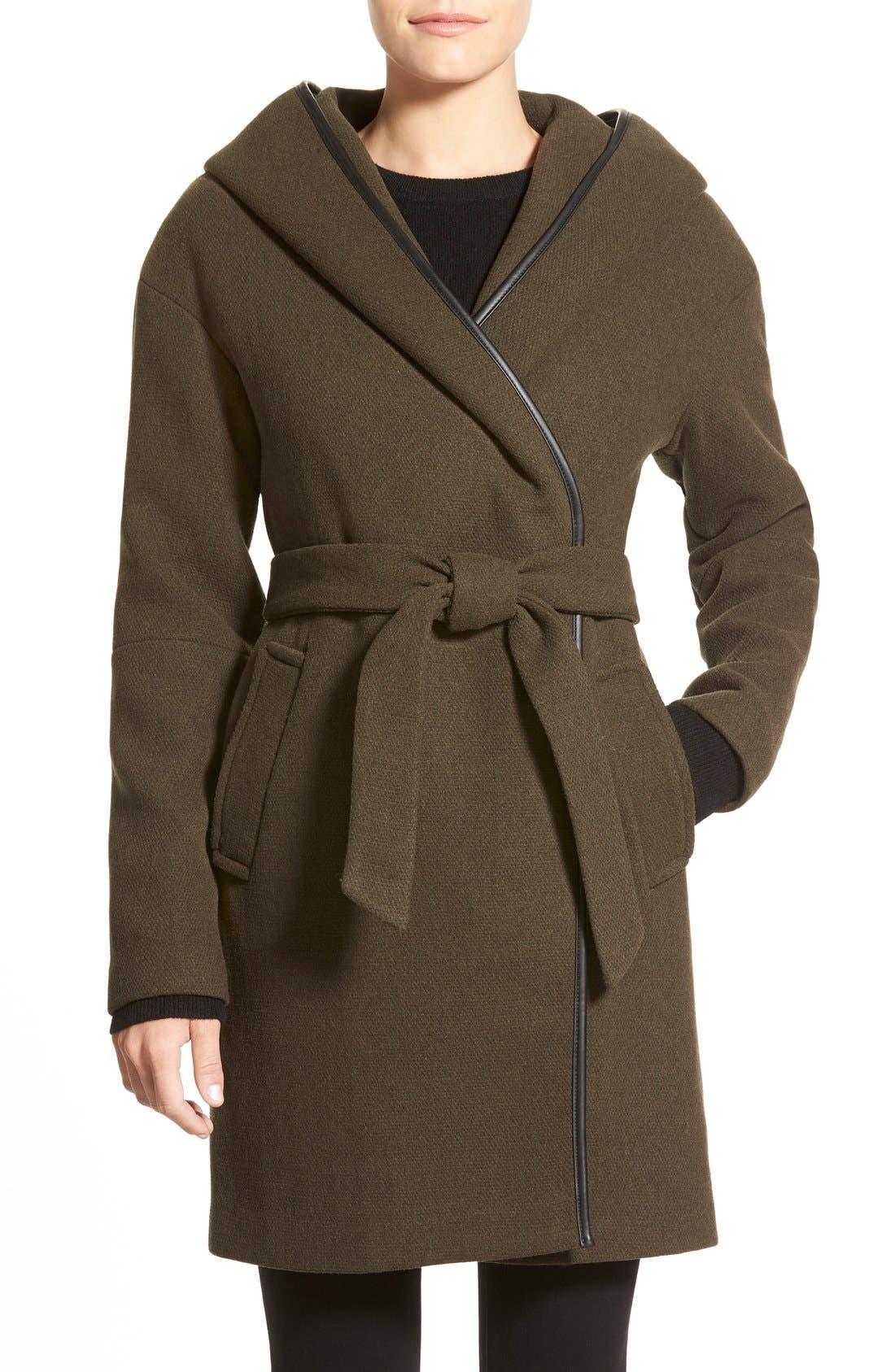 Alternate Image 1 Selected - Calvin Klein Hooded Wool Blend Wrap Coat