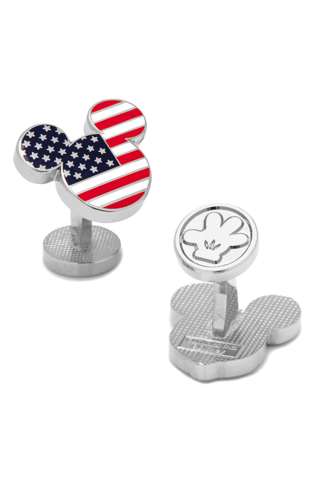 Mickey Mouse American Flag Cuff Links,                         Main,                         color, Silver Multi