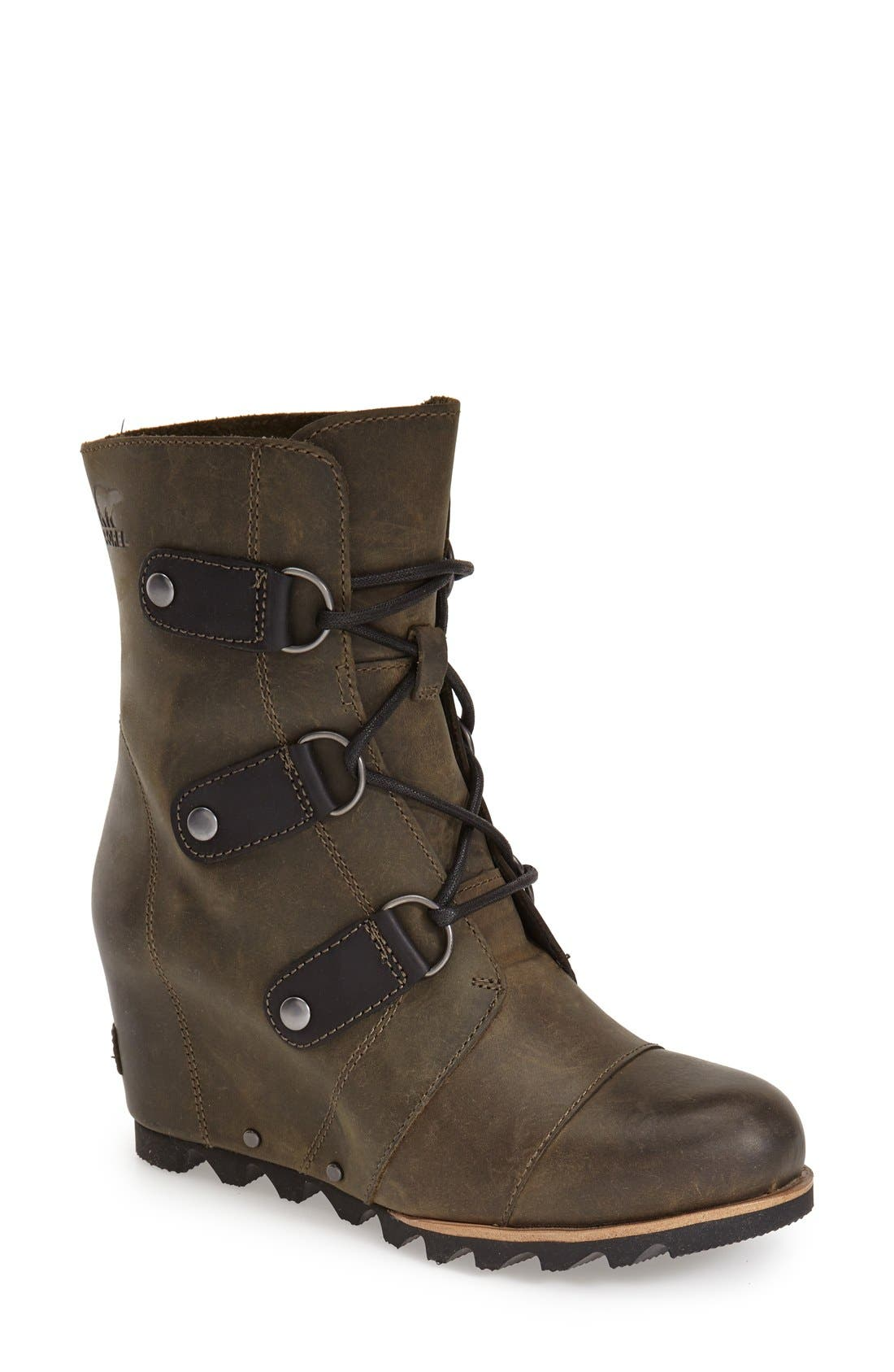 'Joan of Arctic' Waterproof Wedge Boot,                             Main thumbnail 1, color,                             Nori Green Leather