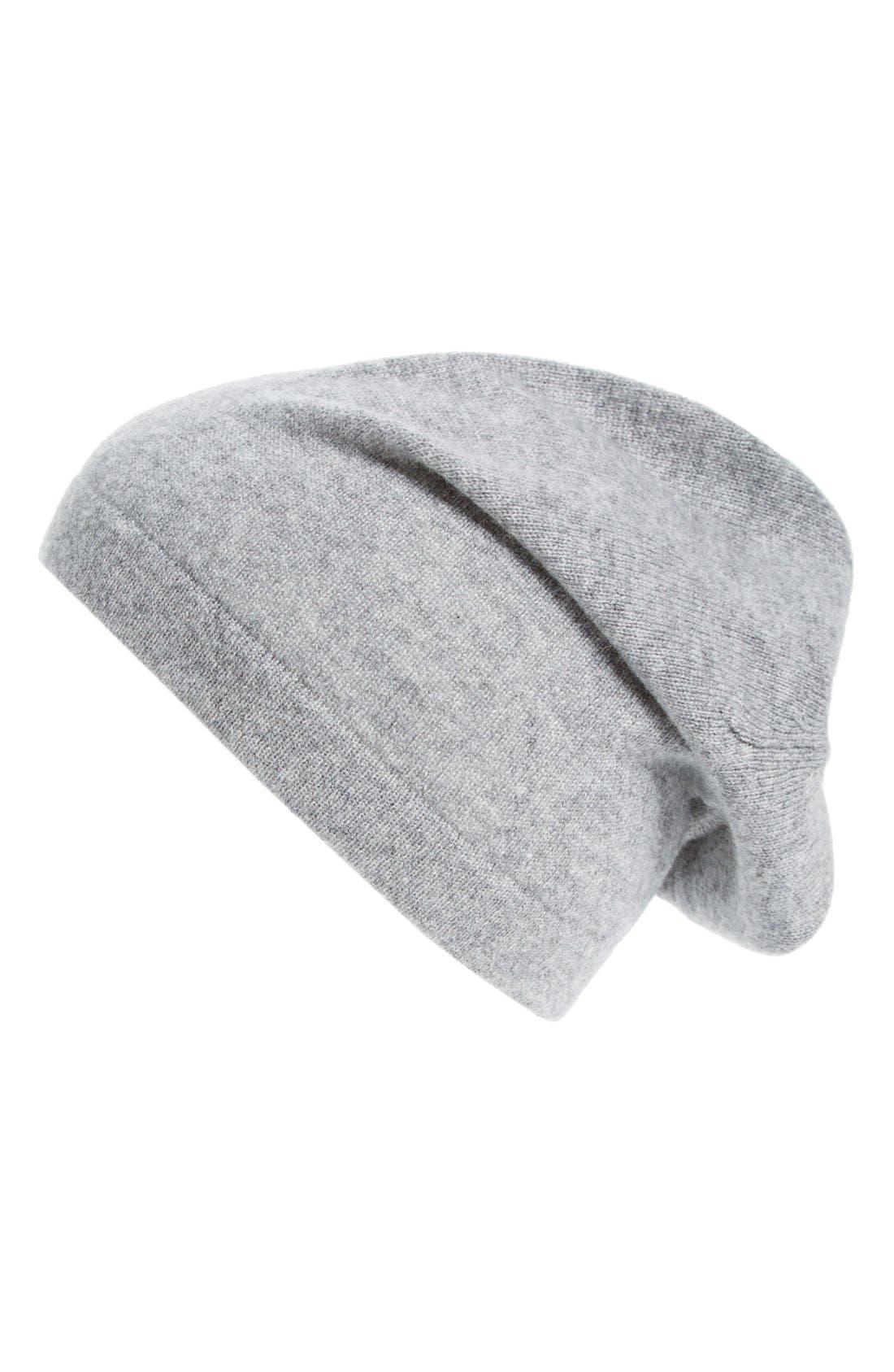 Cashmere Knit Cap,                         Main,                         color, Light Grey Heather