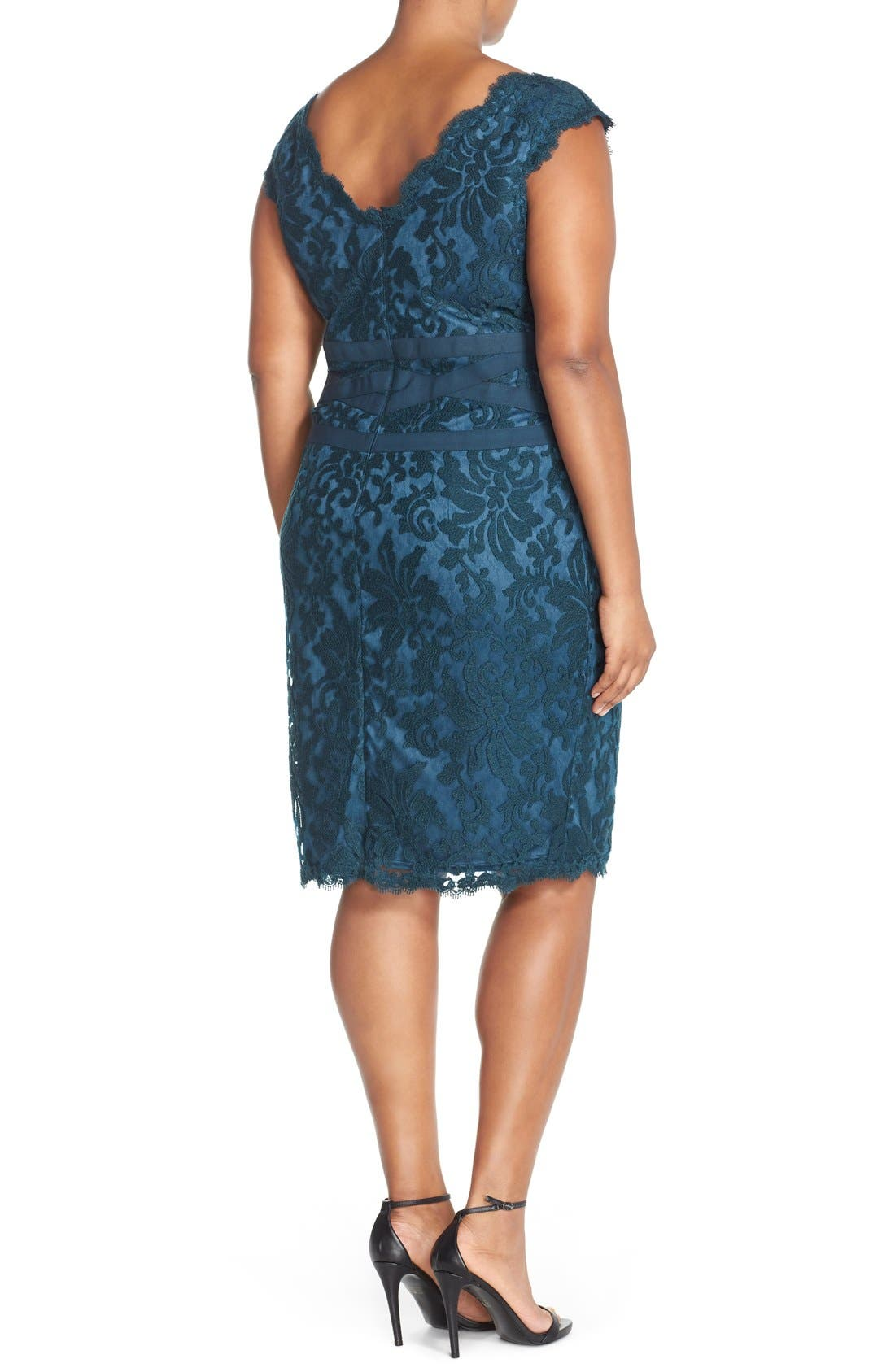 Alternate Image 2  - Tadashi Shoji Embroidered Lace Sheath Dress (Plus Size)