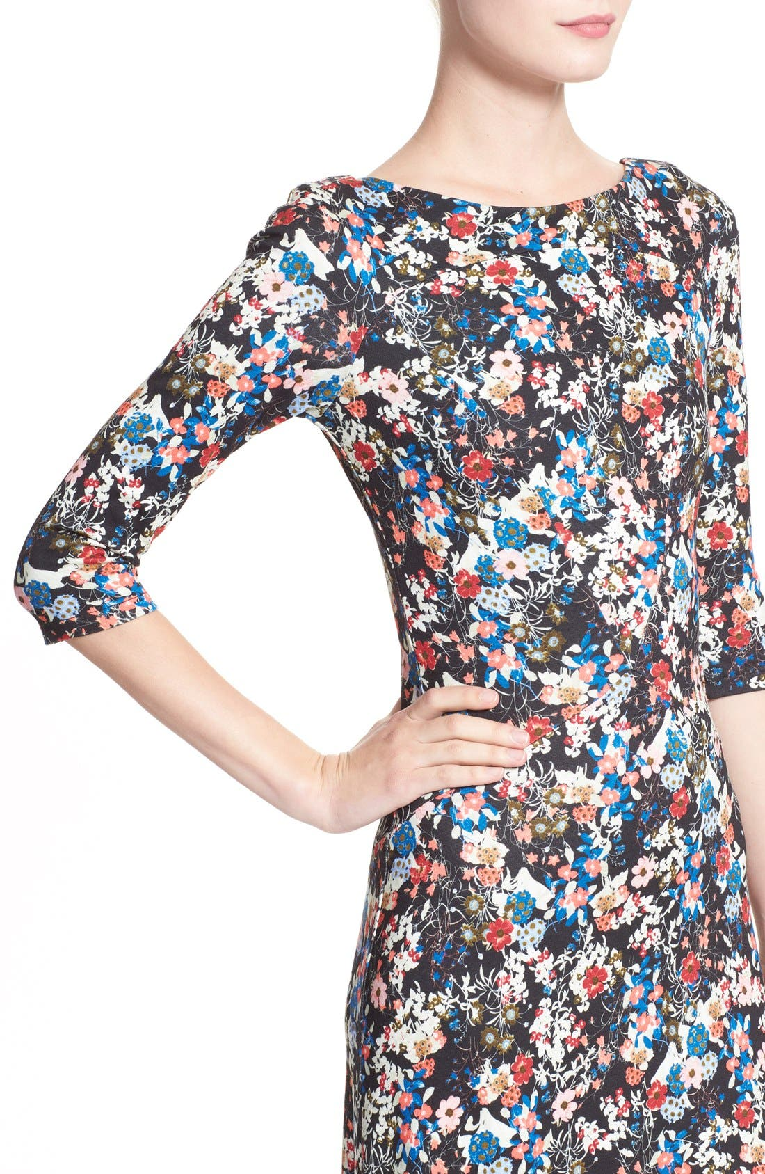 'Valentina' Floral Print JerseyGown,                             Alternate thumbnail 6, color,                             Pink/ Multi