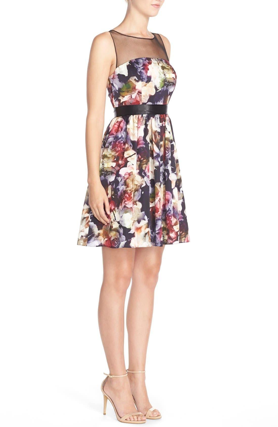 Alternate Image 3  - Adrianna PapellFloral CharmeuseFit & Flare Dress