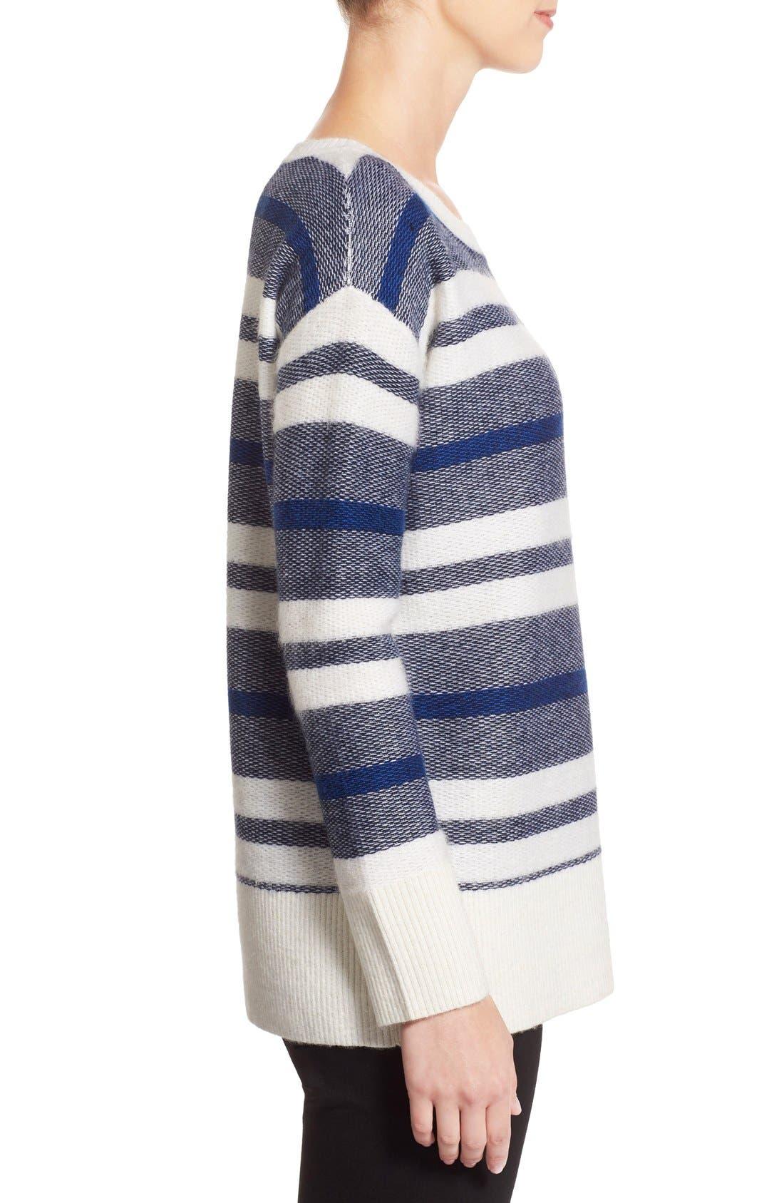 Alternate Image 3  - Nordstrom Collection Stripe Wool Blend Pullover